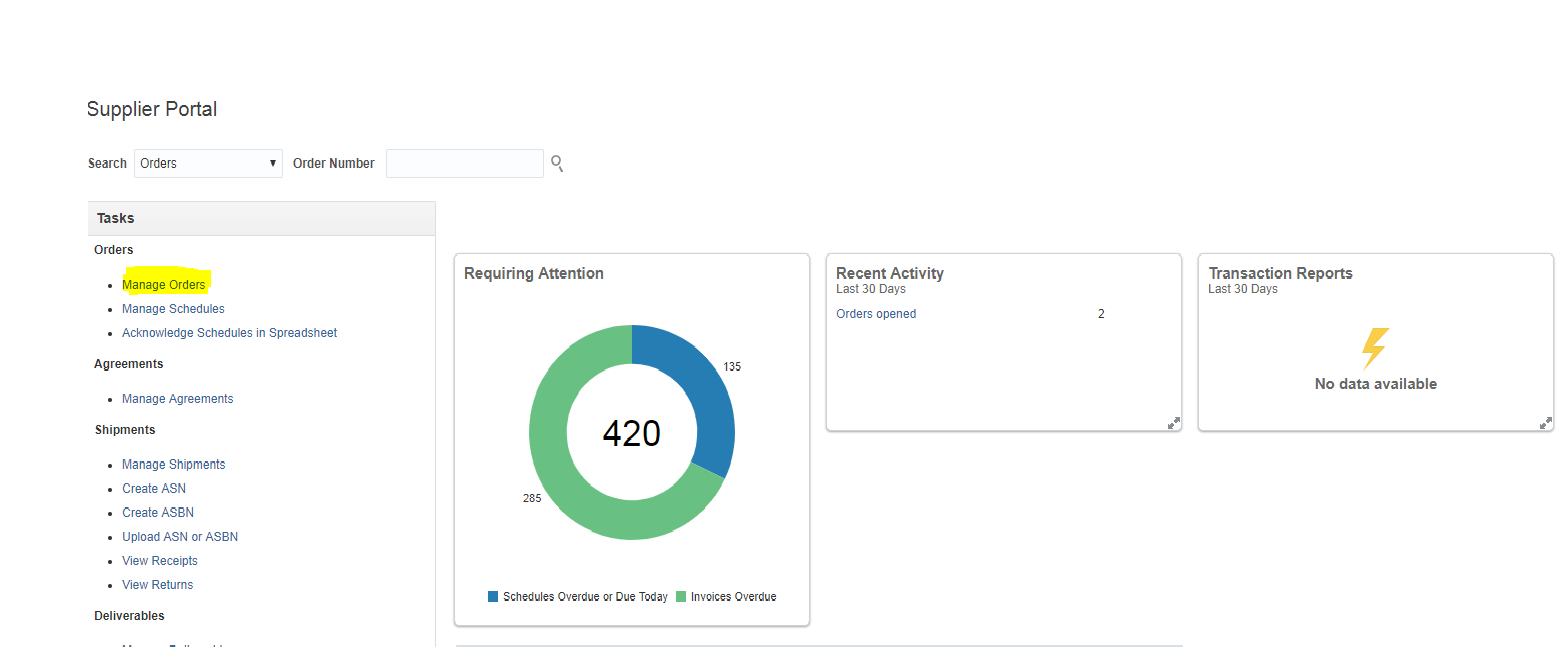 A screenshot of the Manage Orders screen on the Oracle Finance Supplier Portal
