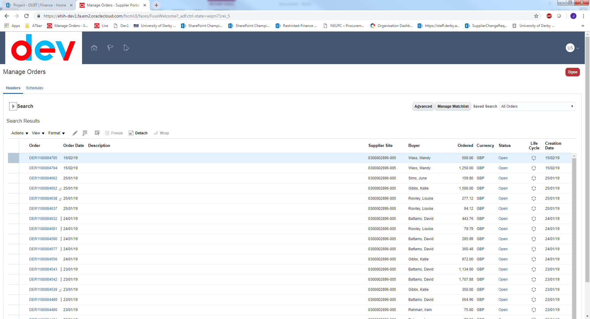 A screenshot of the Oracle Finance screen showing a list of orders from a supplier