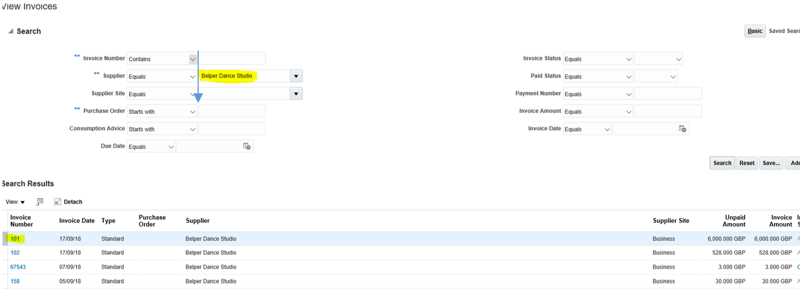 A screenshot showing a list of invoices on the supplier portal