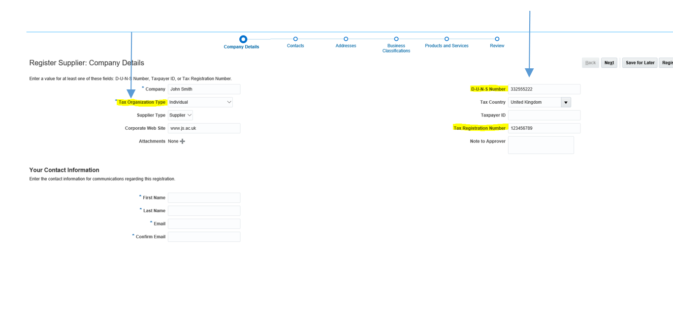 A screenshot of registration screen on the Oracle Finance Supplier Portal, with the tax organisation type box and DUNS number box highlighted in yellow.