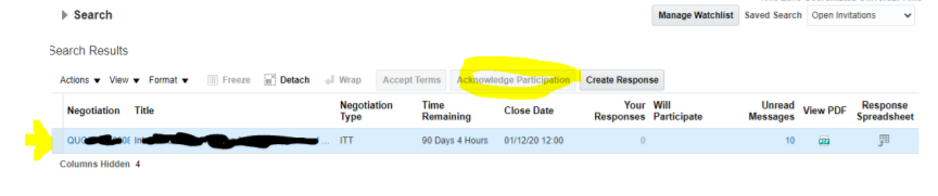 a screenshot showing where to find the 'acknowledge participation' tab on the supplier portal.