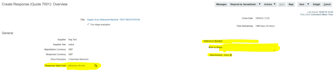 A screenshot of the first part of the 'Create Response' area on the Supplier Portal.