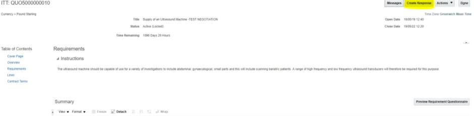 A screenshot highlighting the 'Create Response' button on the Supplier Portal