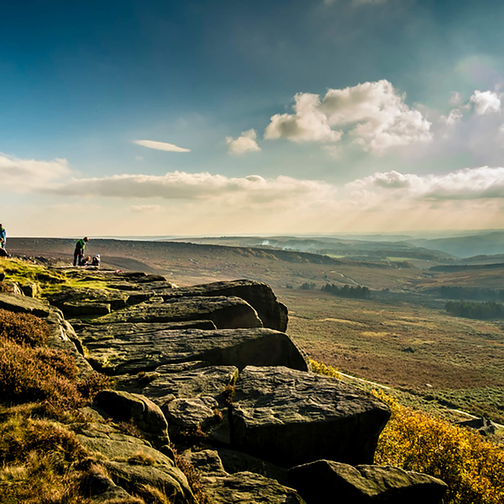View of landscape at Burbage, with rocks in foreground