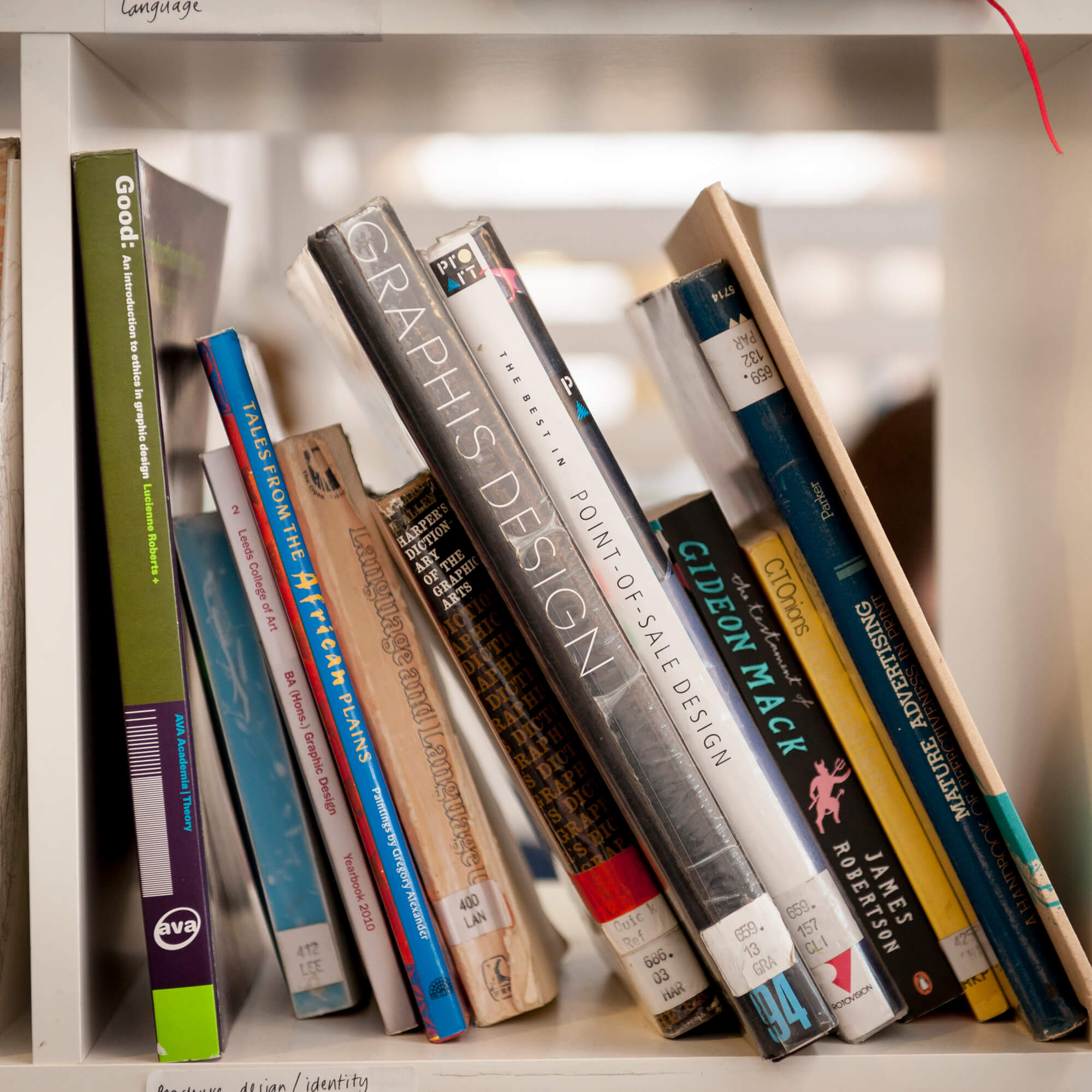 Selection of books on a shelve