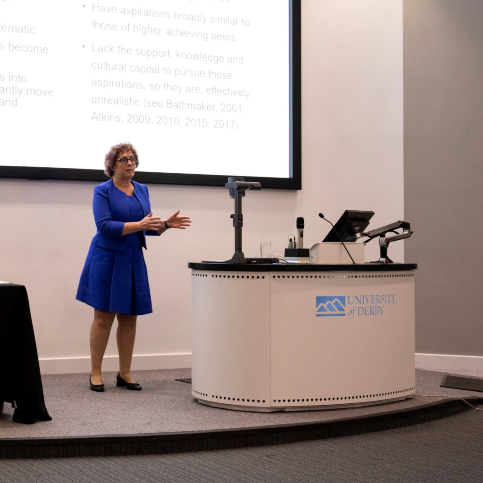 Lecture being given by Prof. Liz Atkins