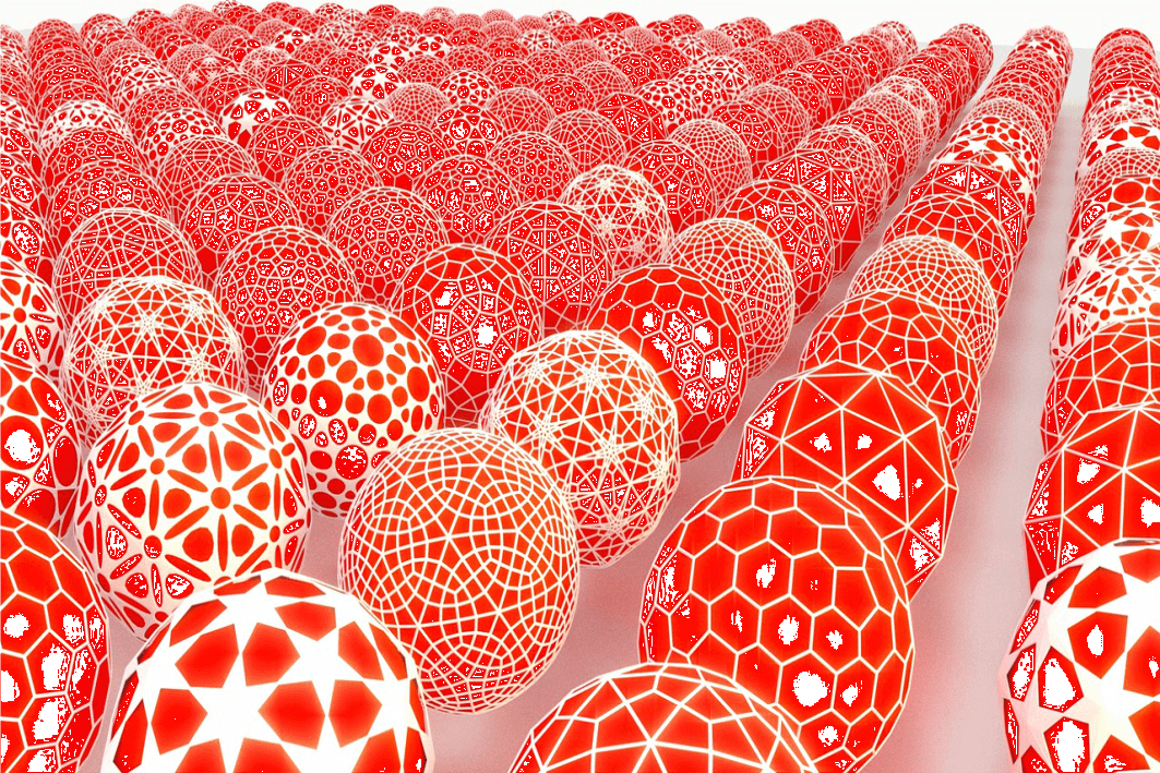 Abstract image of a series of red balls