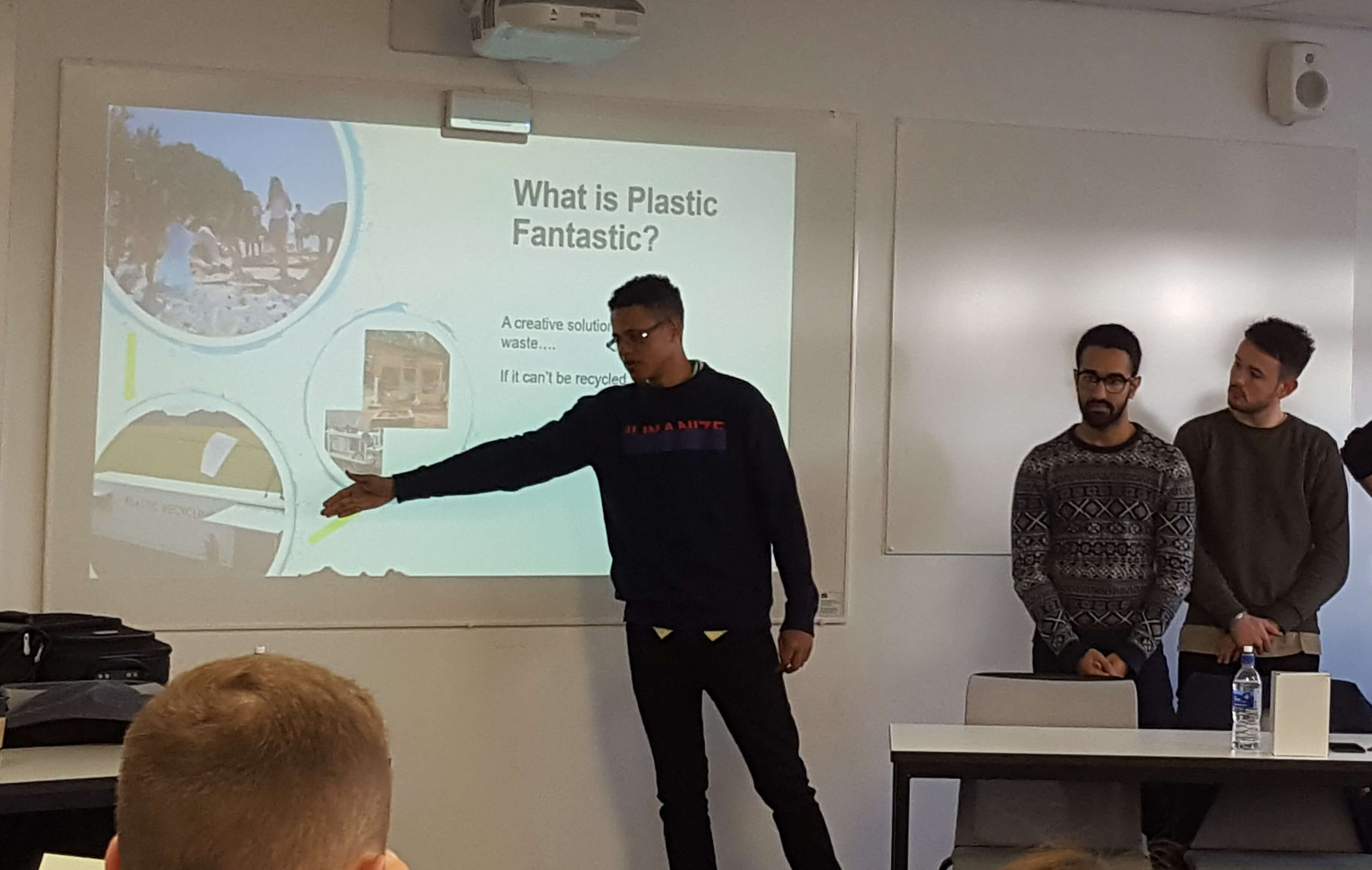 Students giving a presentation at the Plastic Fantastic launch