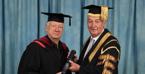 Sir Michael Craig Martin receiving an award from Duke of Devonshire
