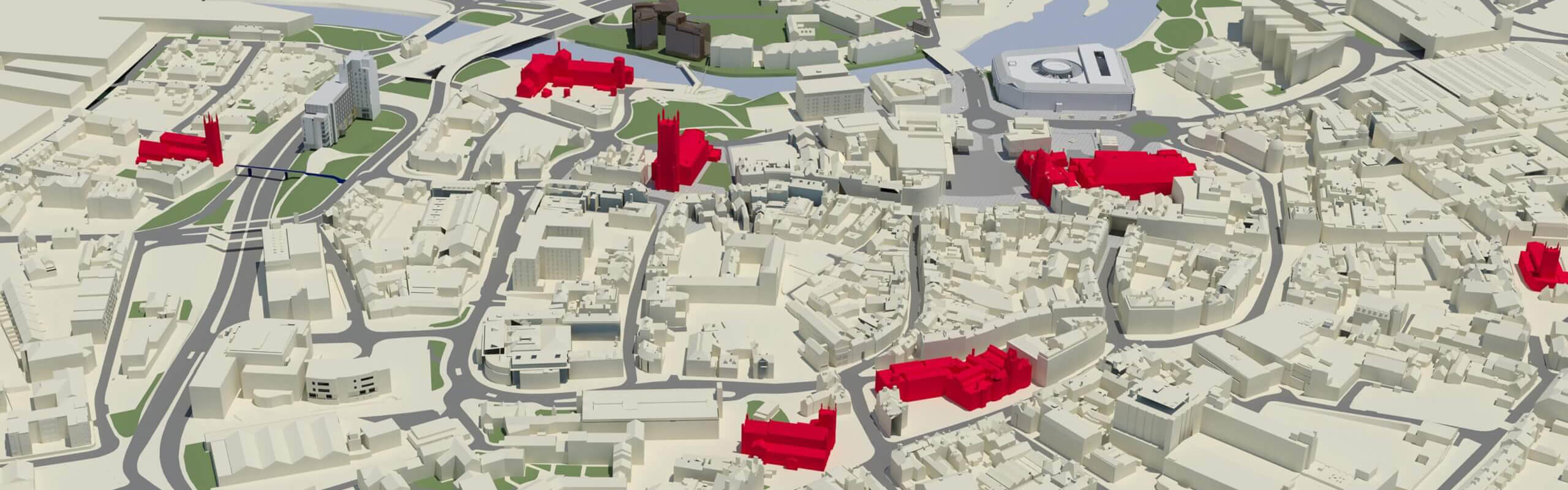A three-dimensional illustration of the city of Derby, as seen from the air.