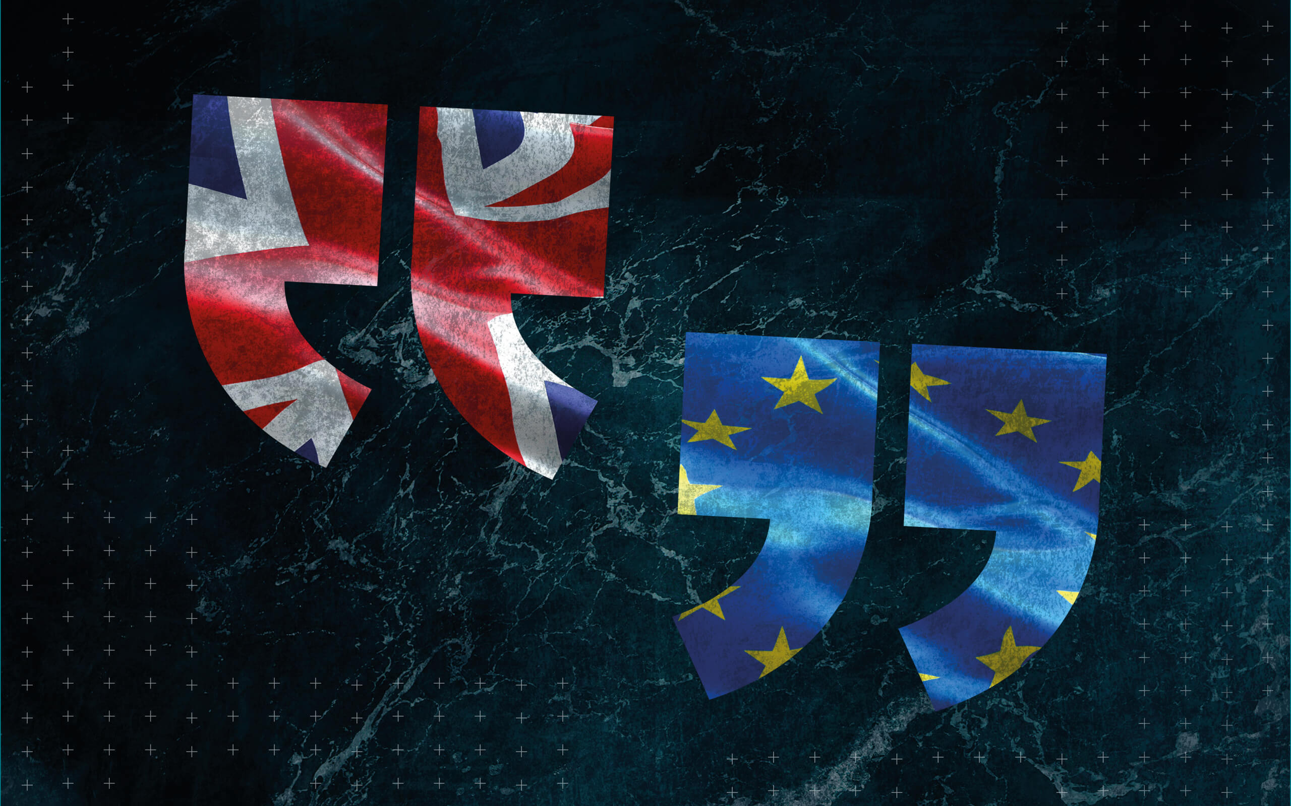 Quotation marks with one pair in the blue and gold stars flag of the European Union and the other in the red, white and blue of the Union Jack