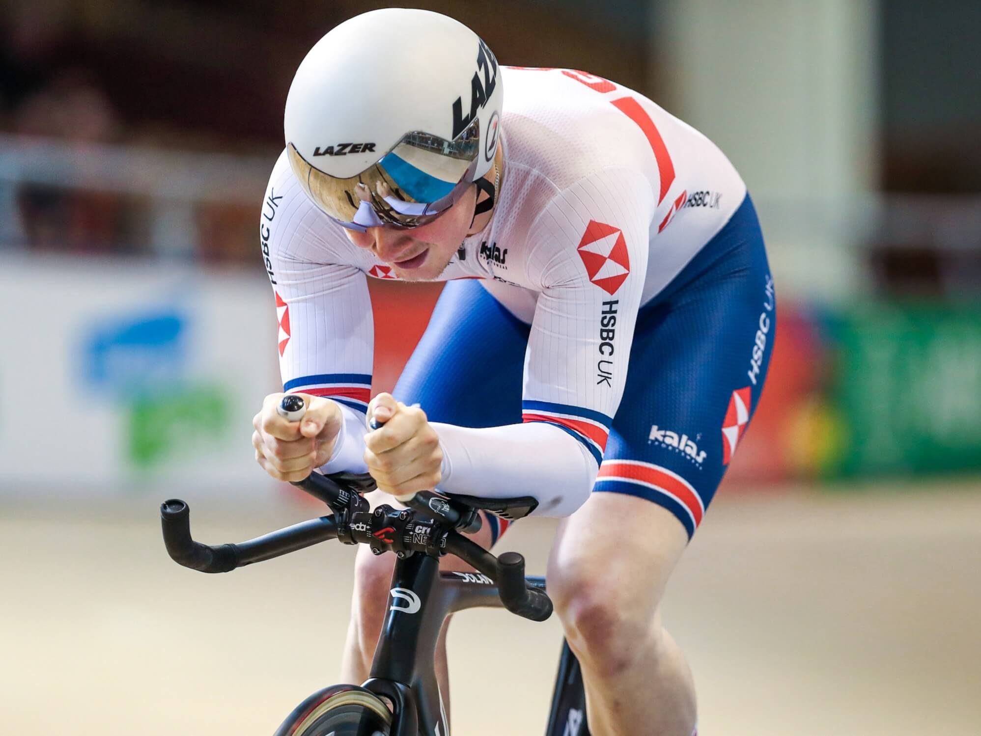 Cyclist Dan Cooper in competition for Great Britain