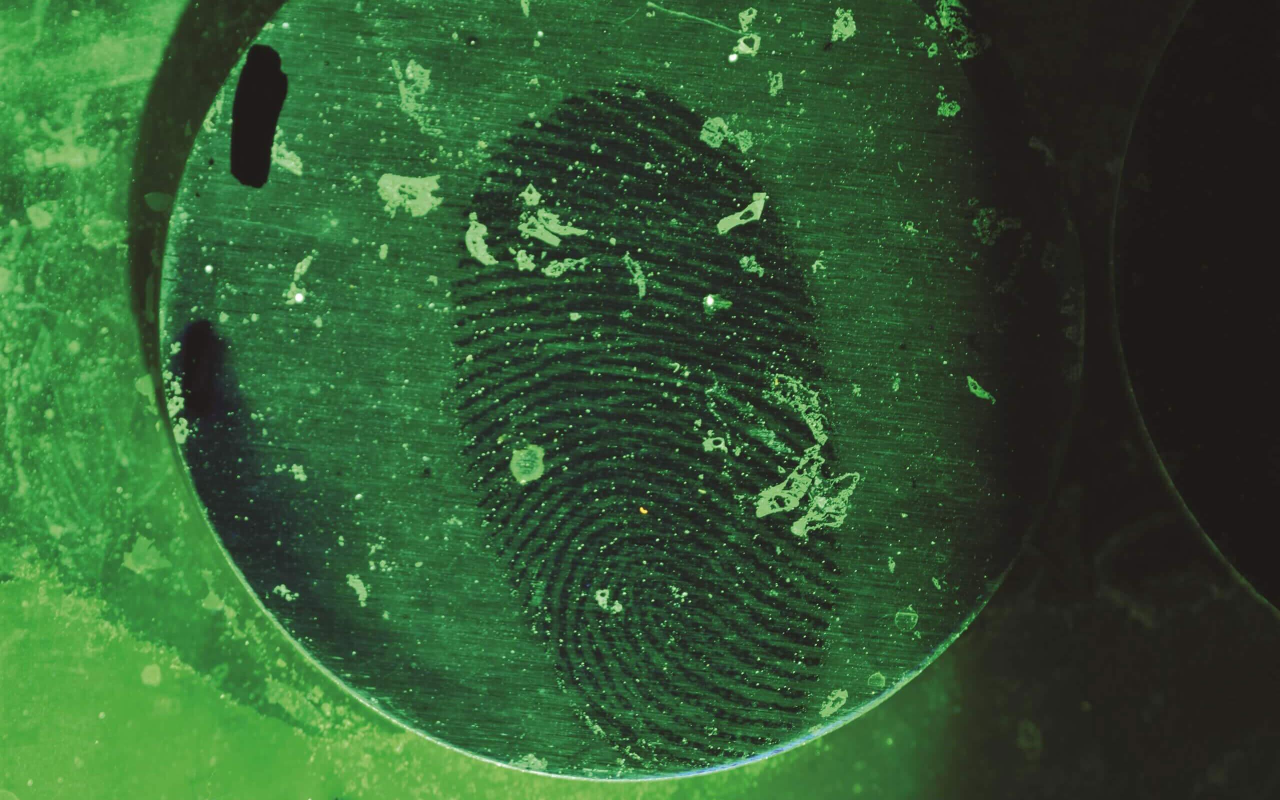Fingerprint under magnifying glass