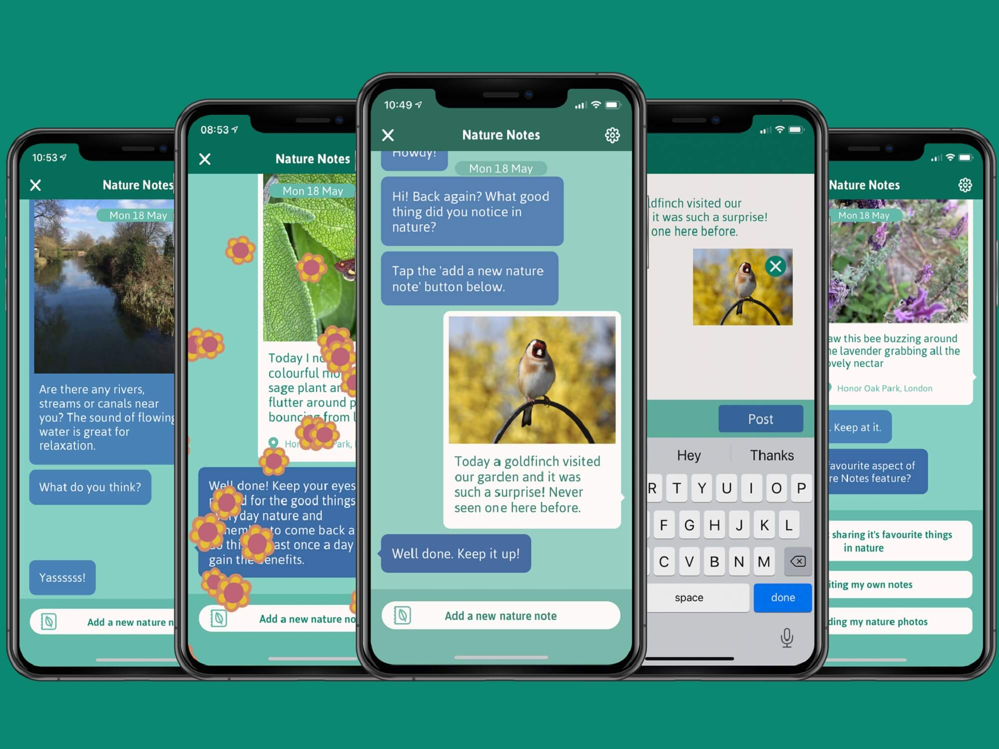 Mock-up of phone screens showing new Nature Notes app