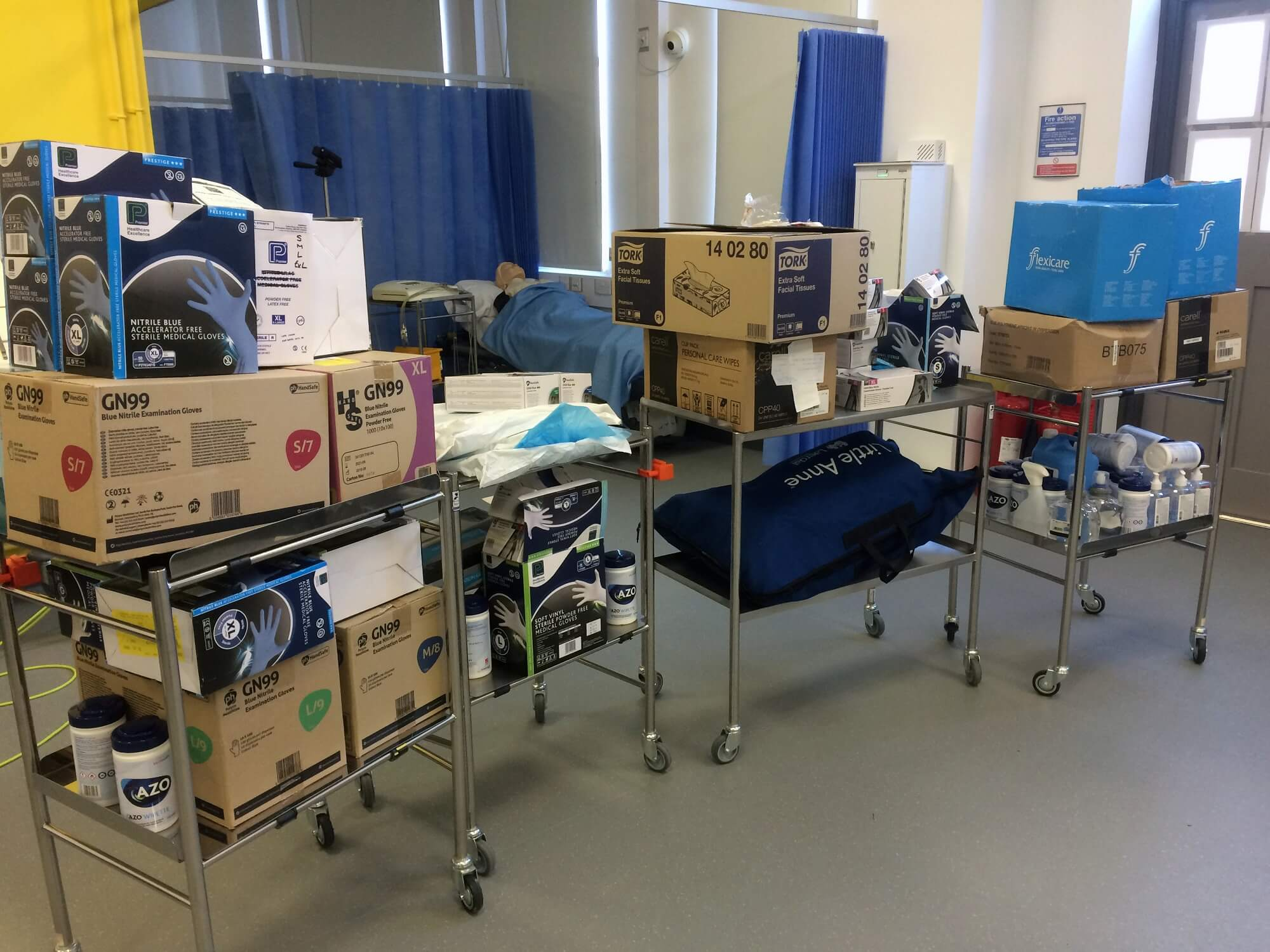 Boxes of PPE kit ready to be donated to Chesterfield Royal Hospital