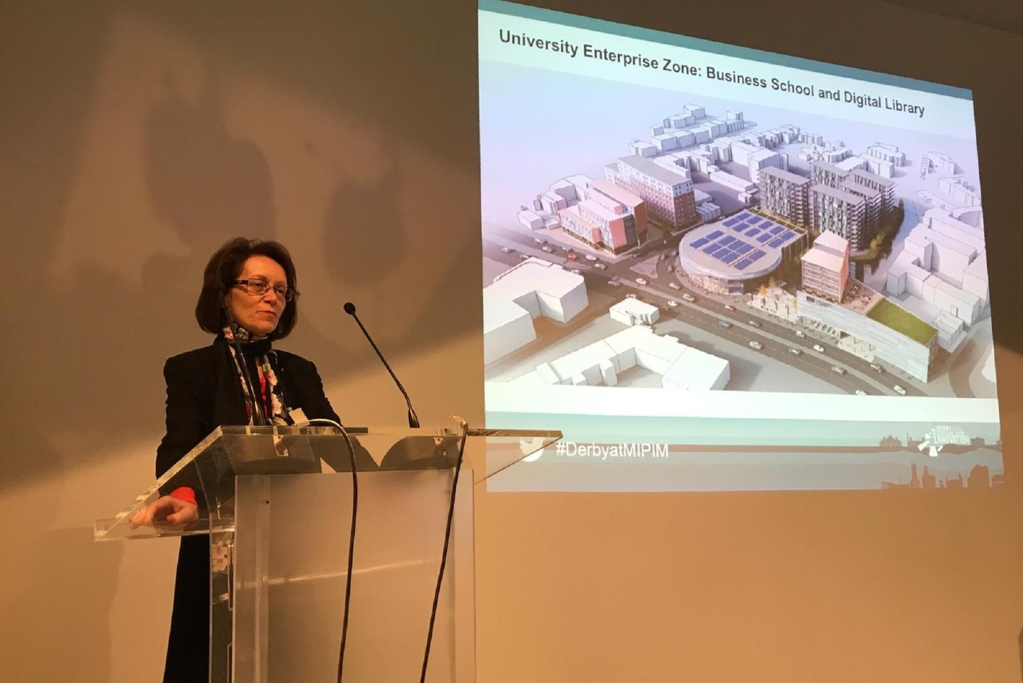 Professor Judith Lamie gives a presentation to the MIPIM business property event