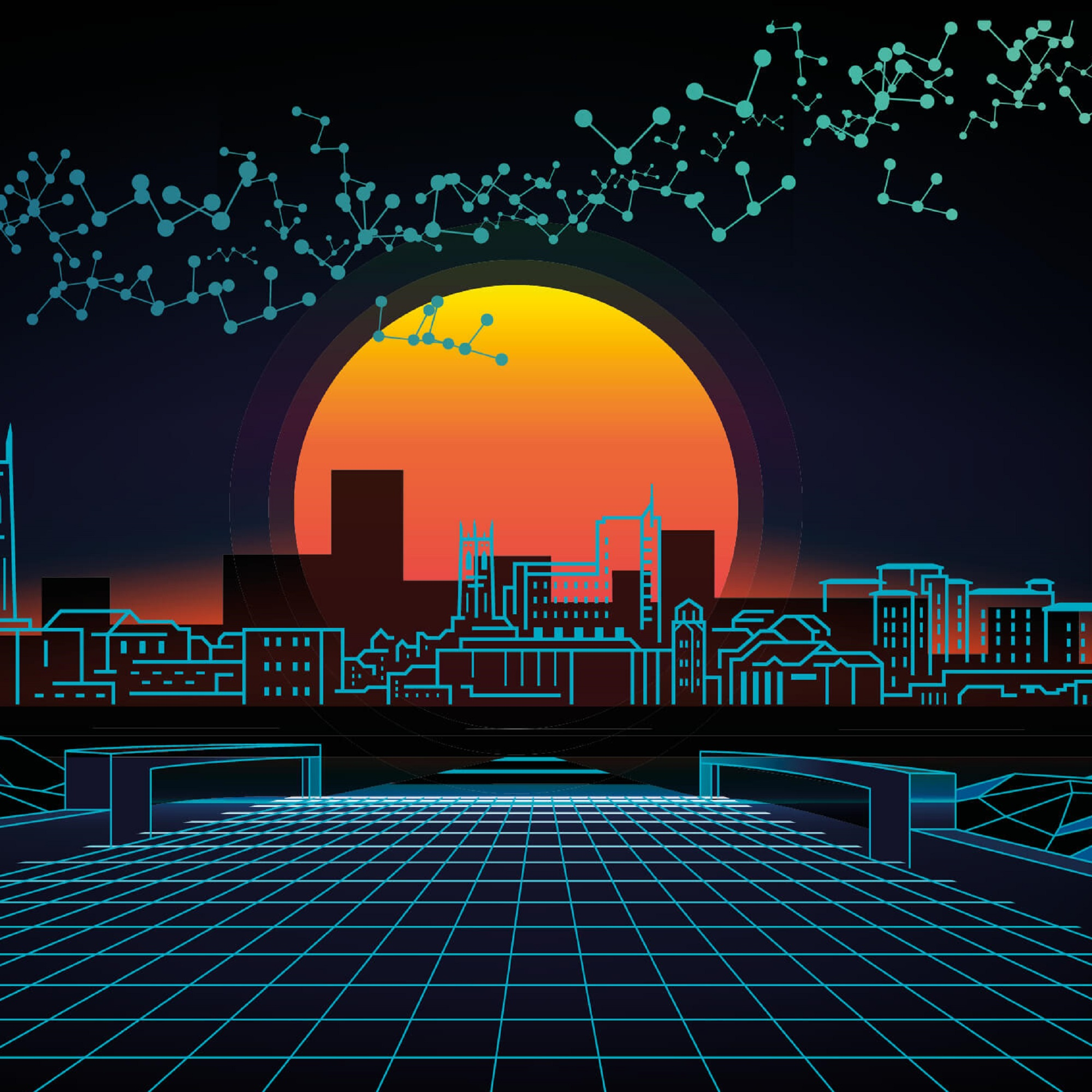 Illustration of a setting sun over a gridded image of the Derby cityscape.
