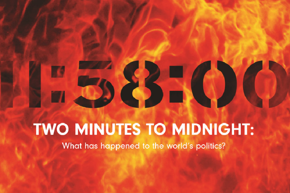 UoD magazine cover A clock reading 11:58:00 in front of flames indicating two minutes to midnight