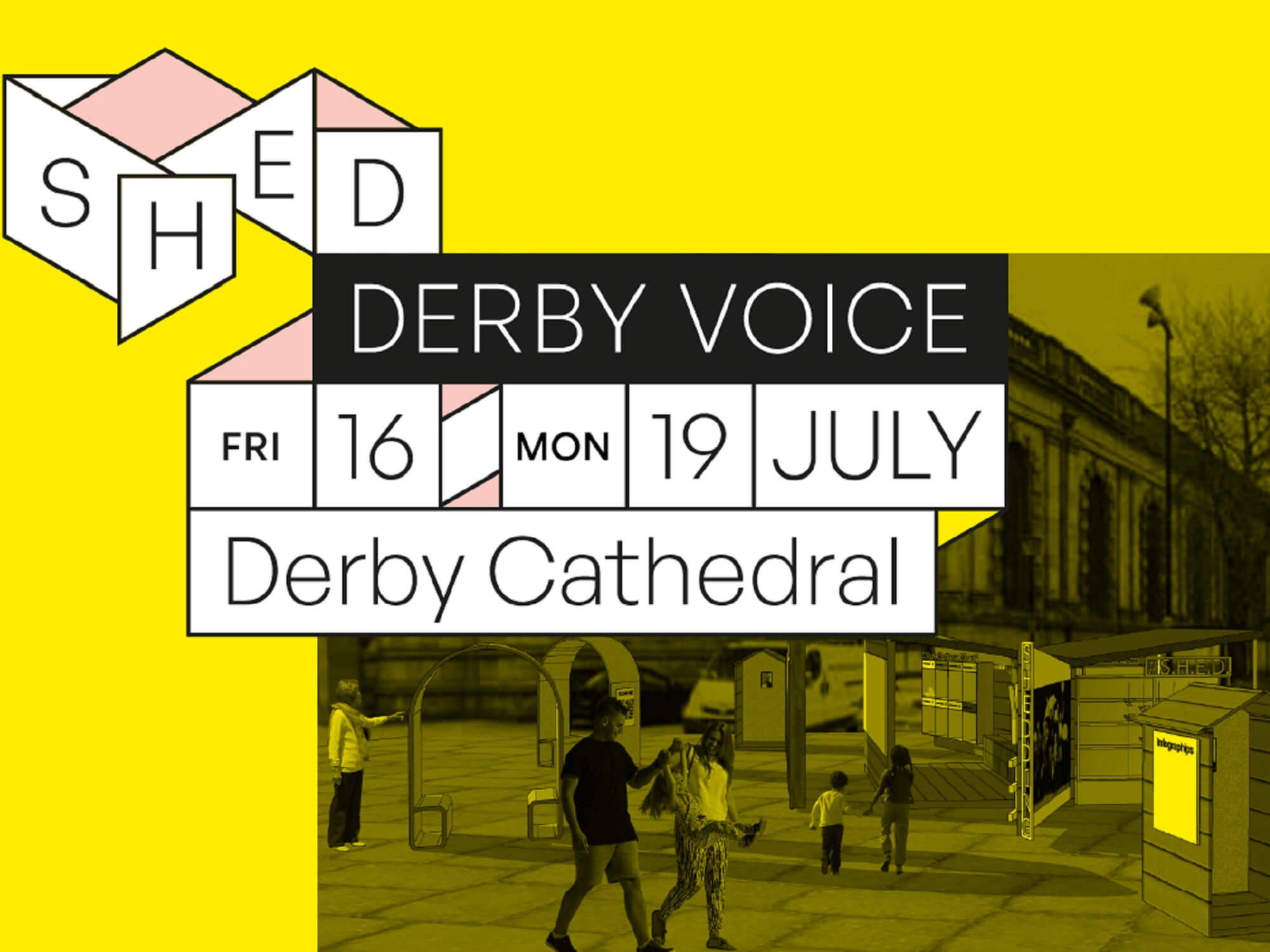 Yellow graphic for SHED Derby Voice event