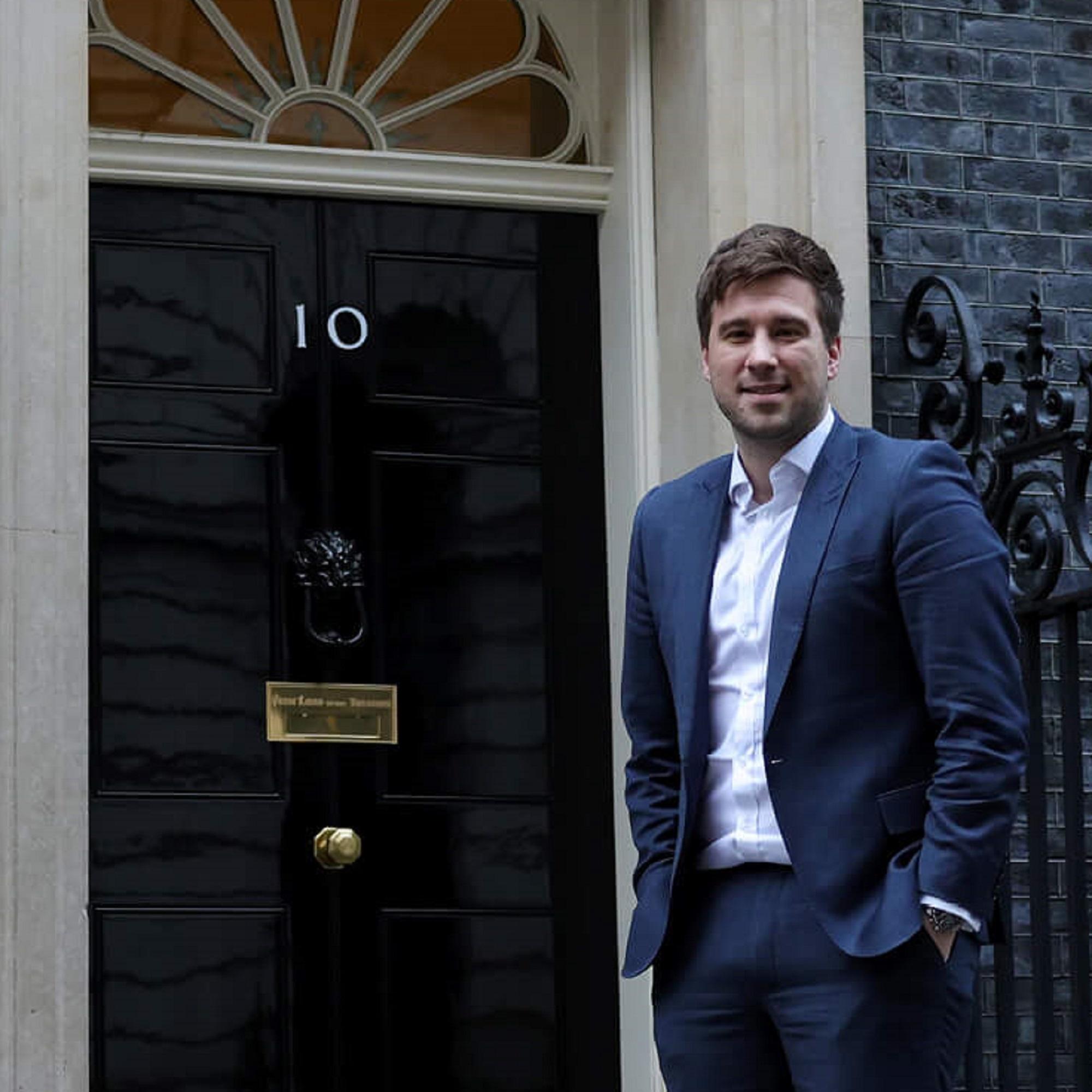 University of Derby graduate Shaun Jepson standing outside 10 Downing Street