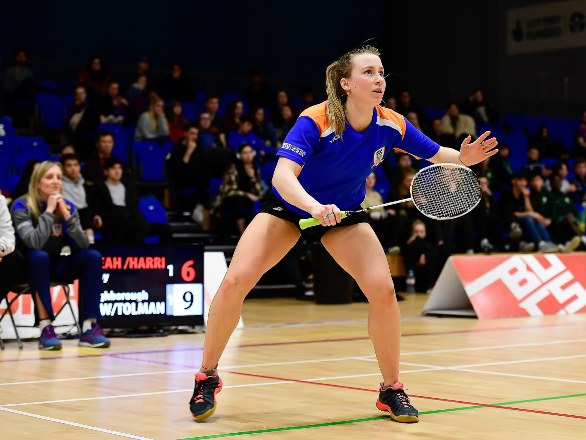 Badminton player Abbygael Harris competing for Team Derby