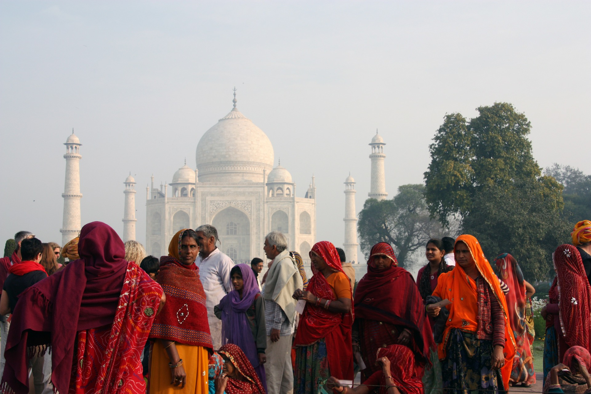 People gathered in front of the Taj Mahal in India