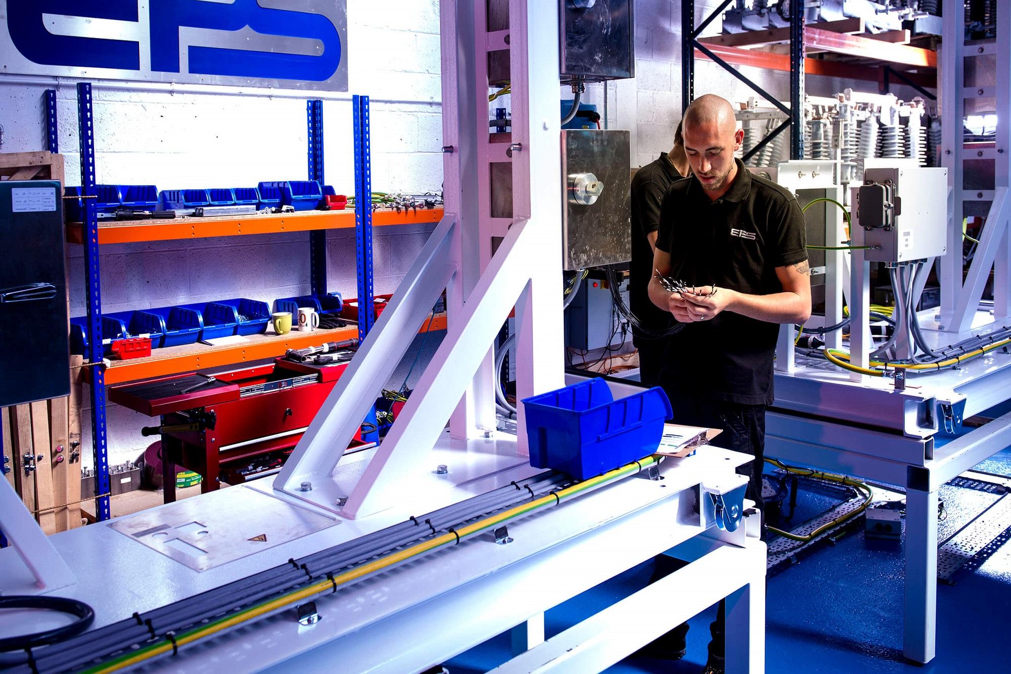 engineer using machinery
