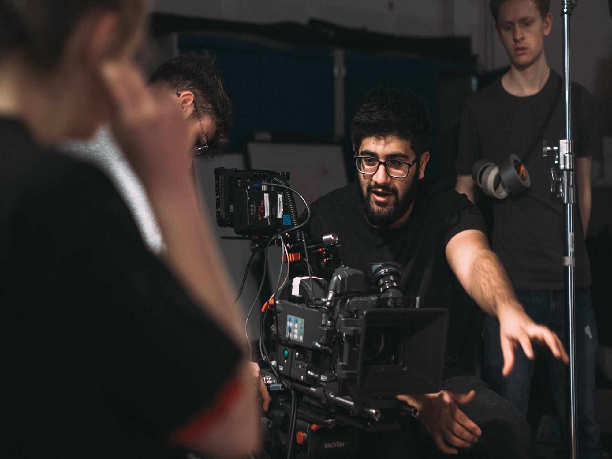 Student filming award-winning advert