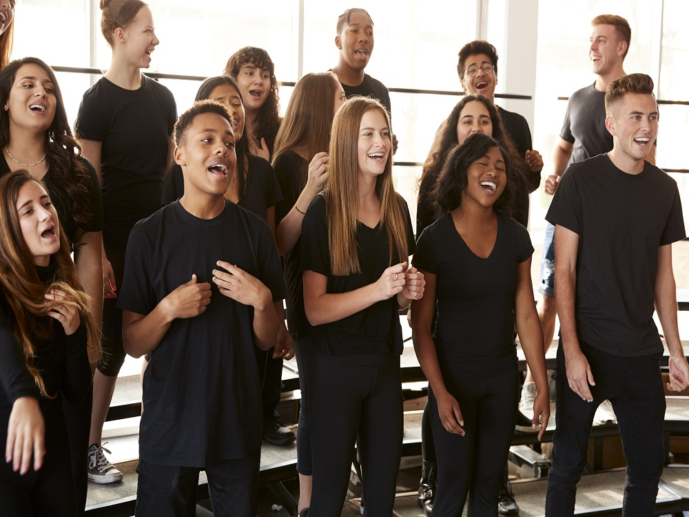a choir singing