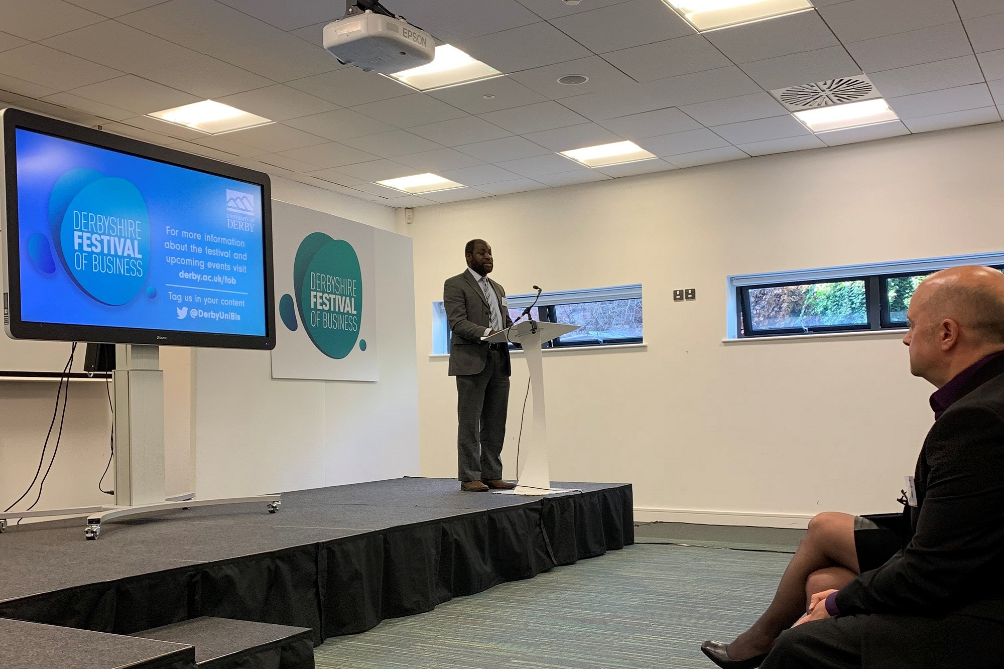 Professor Kamil Omoteso speaking at the Festival of Business launch