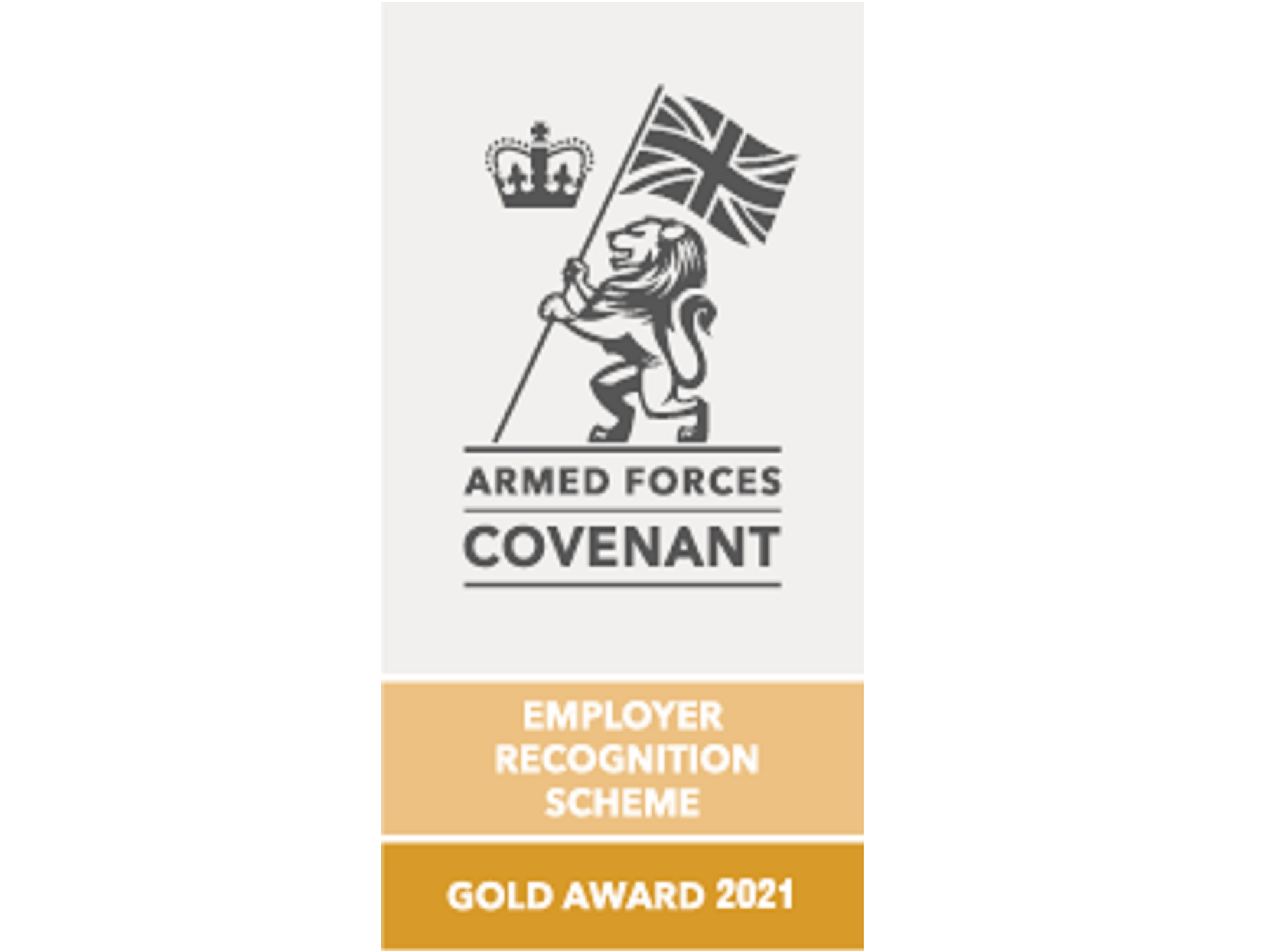Gold Award logo for the 2021 Ministry of Defence Employer Recognition Scheme