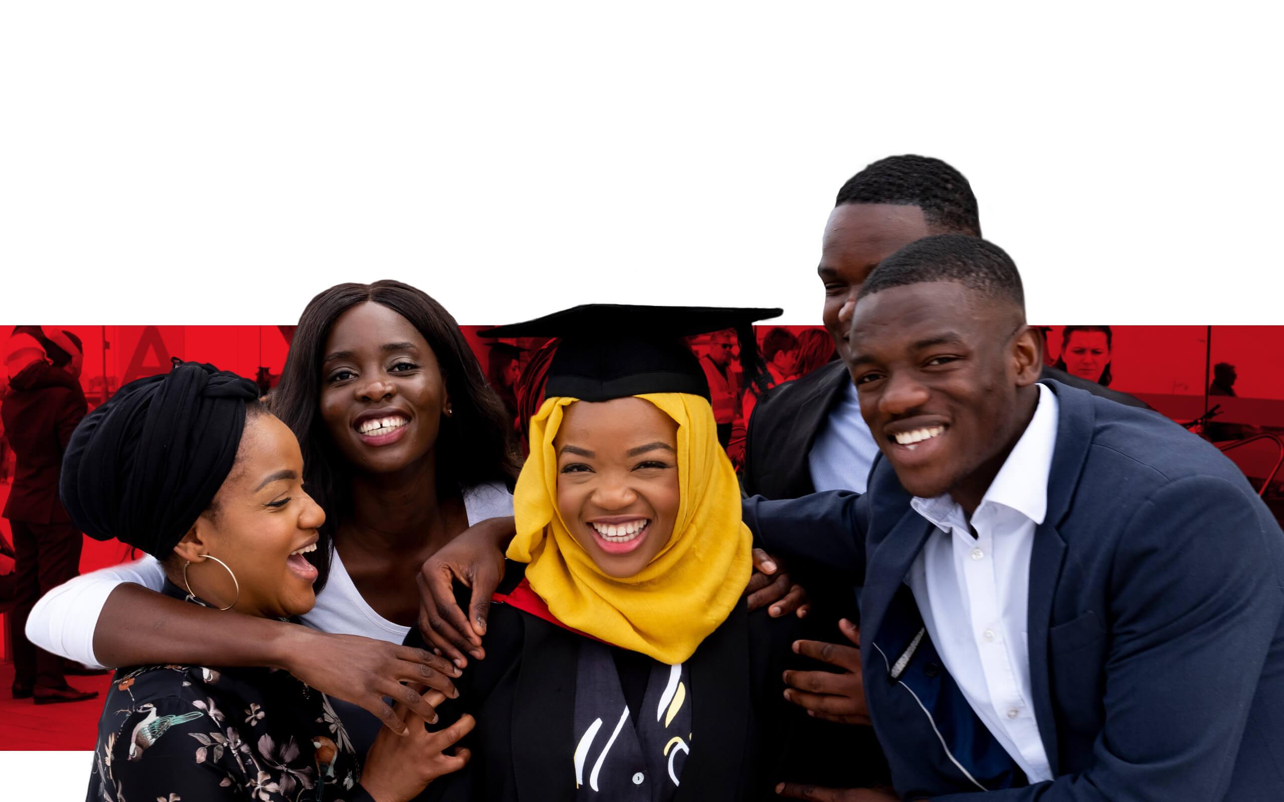 Graduates having a photograph together