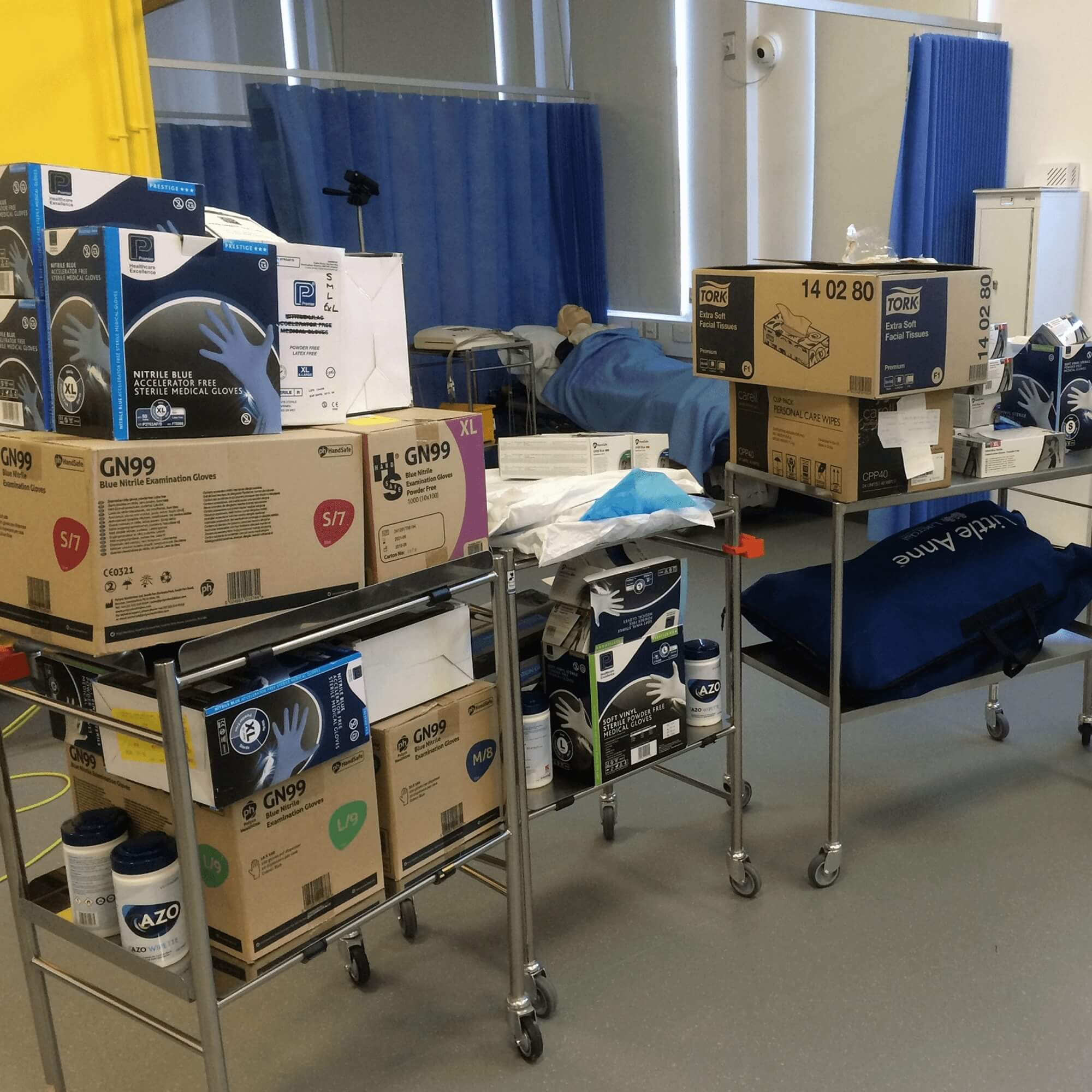 A picture of PPE kit on trolleys ready to be taken to hospitals