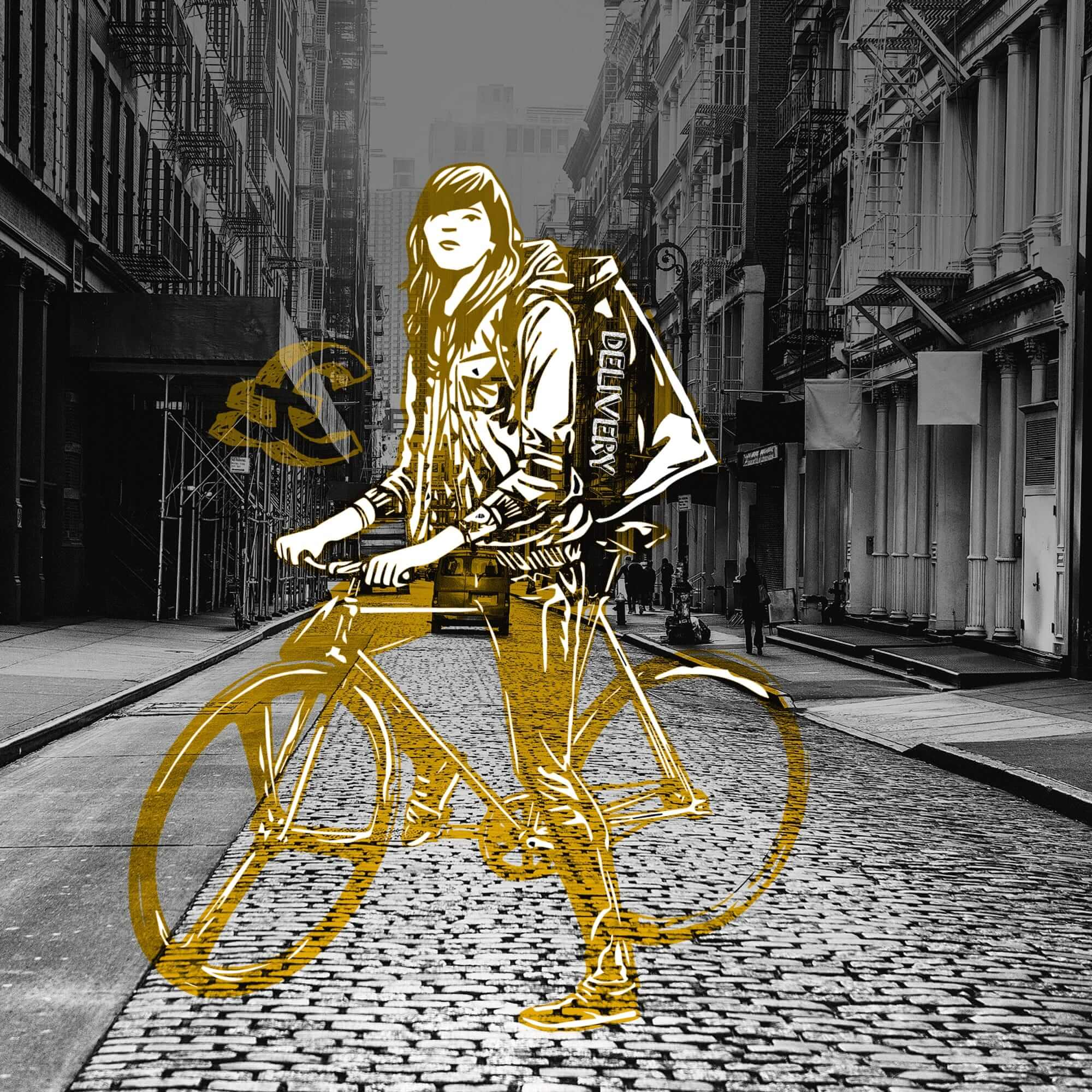 Drawing of a person on a bike in the street