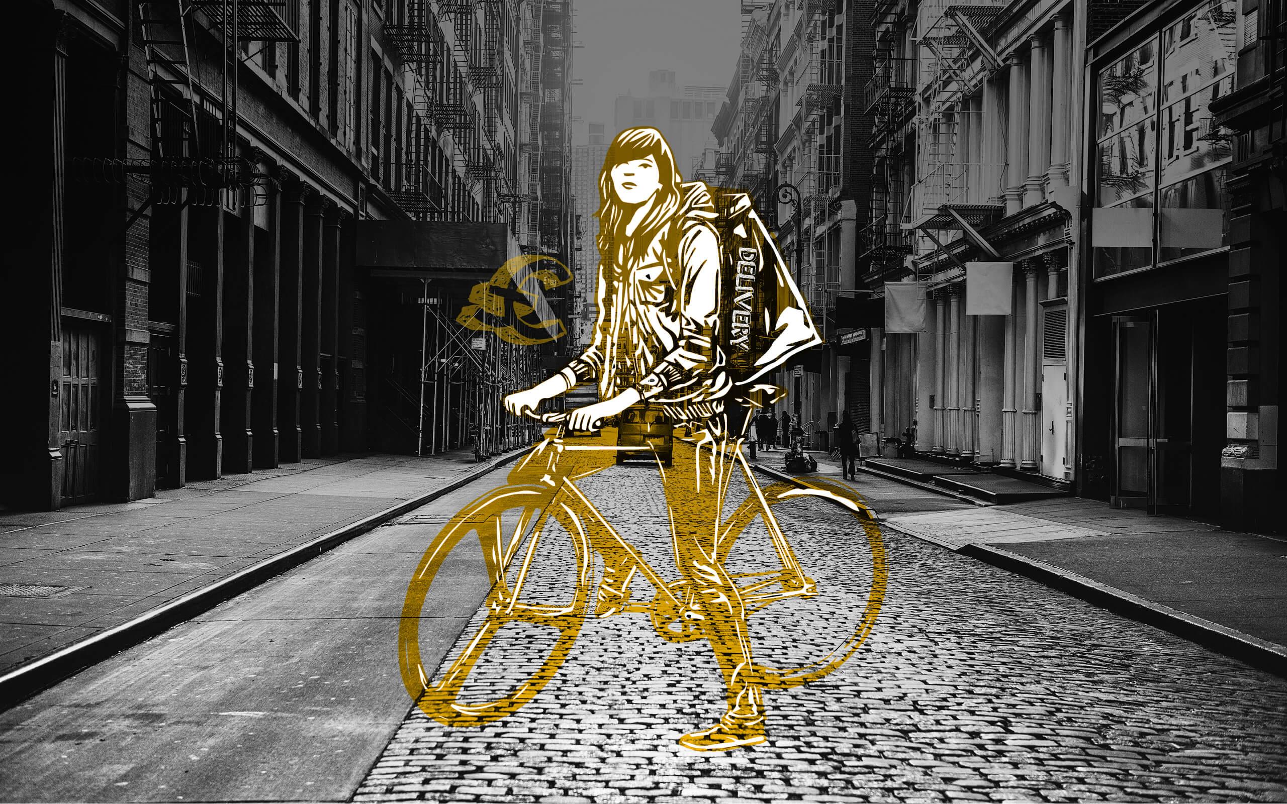 A women on a bike outside