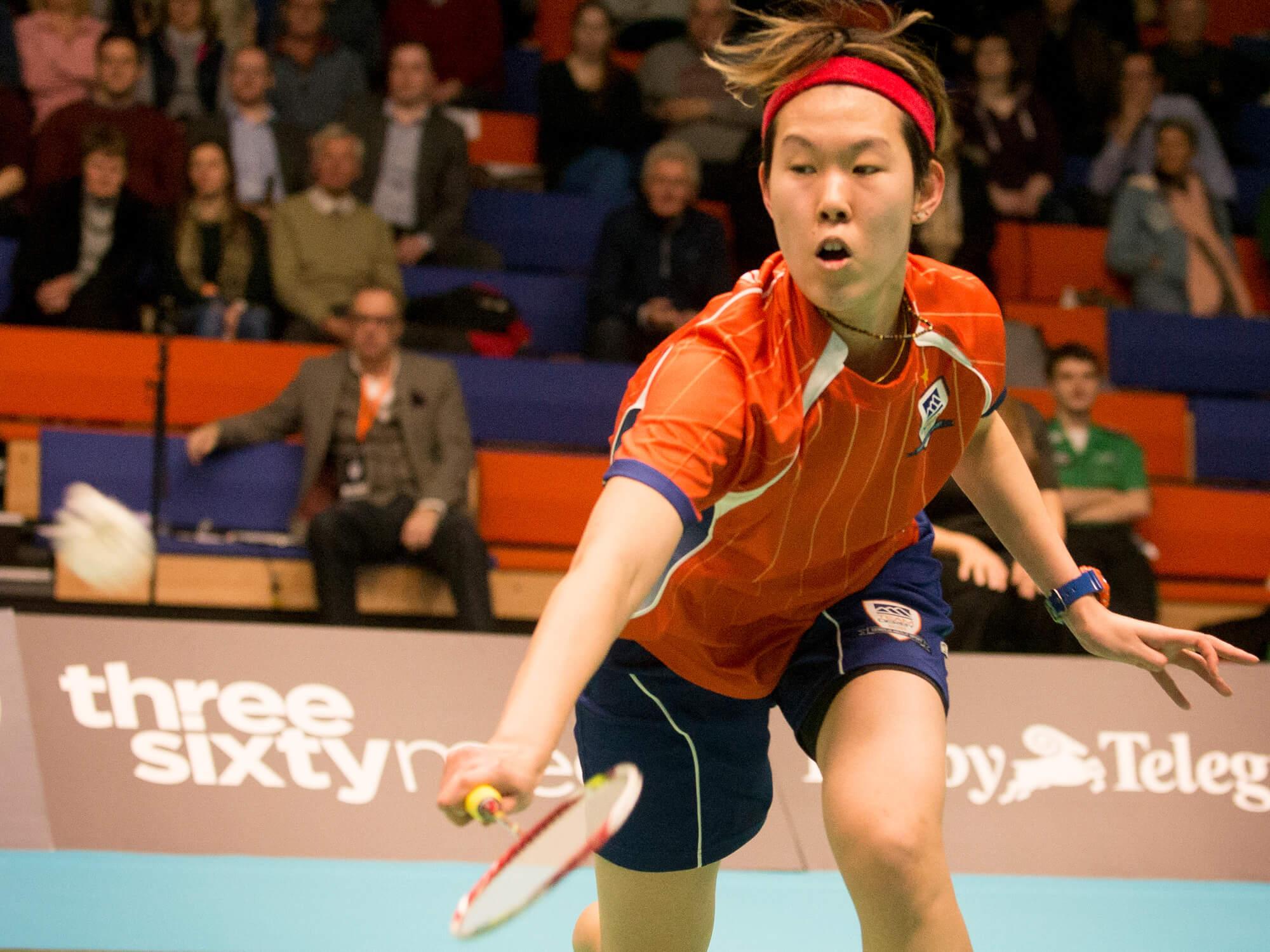 Lyddia Cheah Yi Yu playing badminton for Team Derby