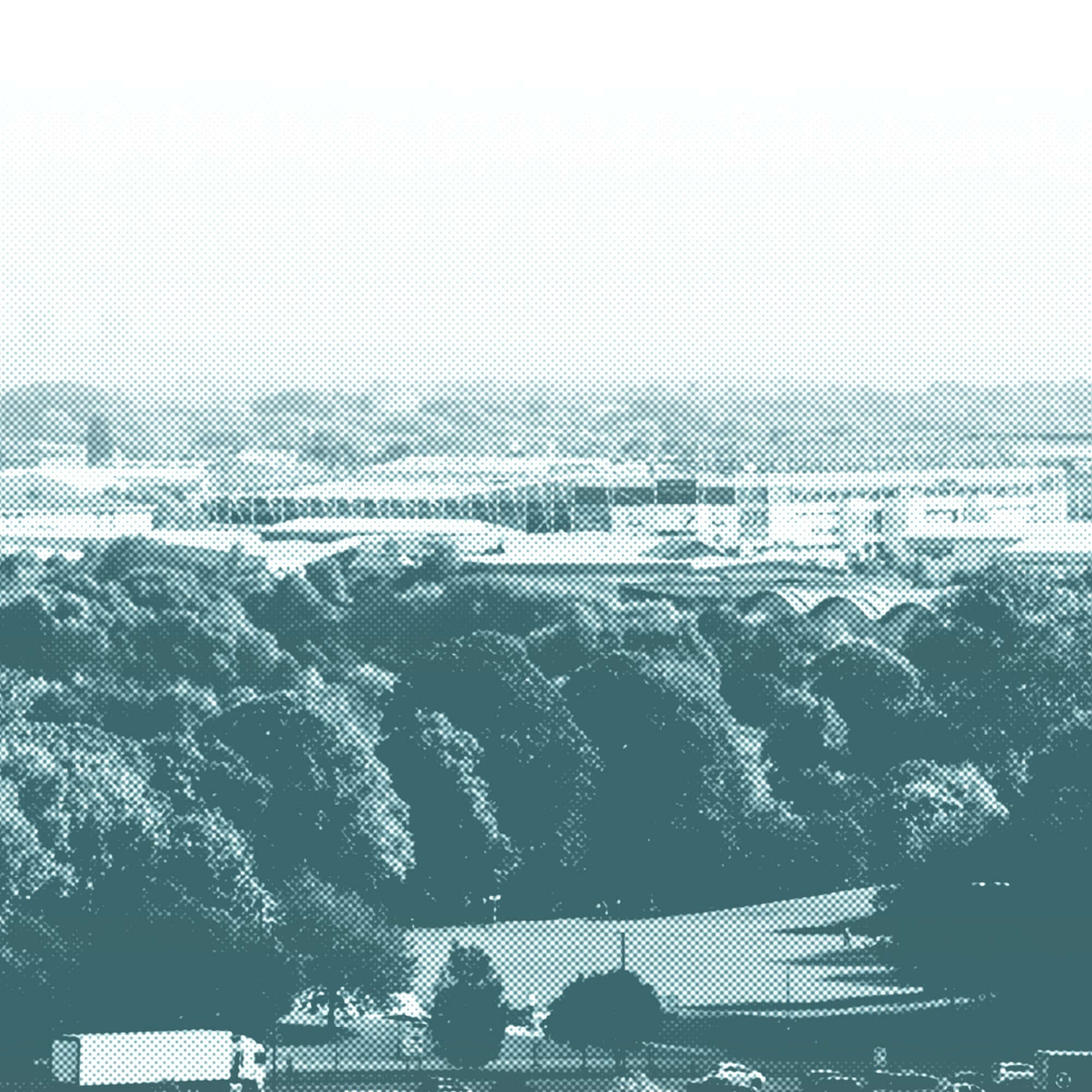 Aerial view of the city of Derby from Kedleston Road