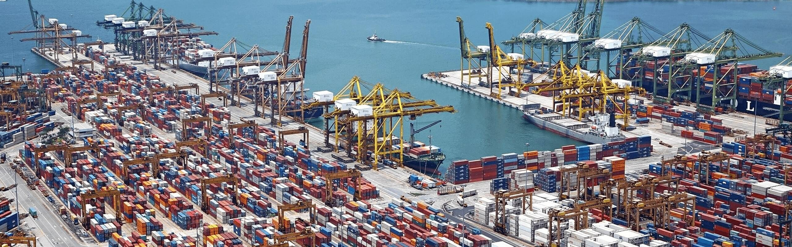 Aerial view of a shipping port