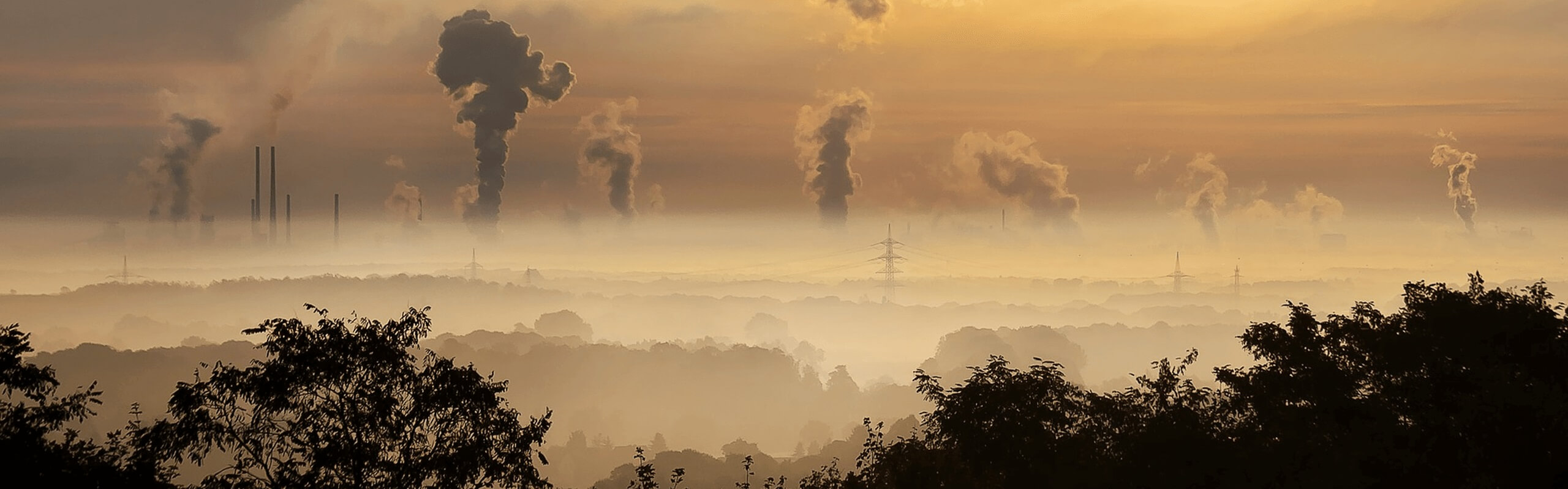 Sunset image with air pollution