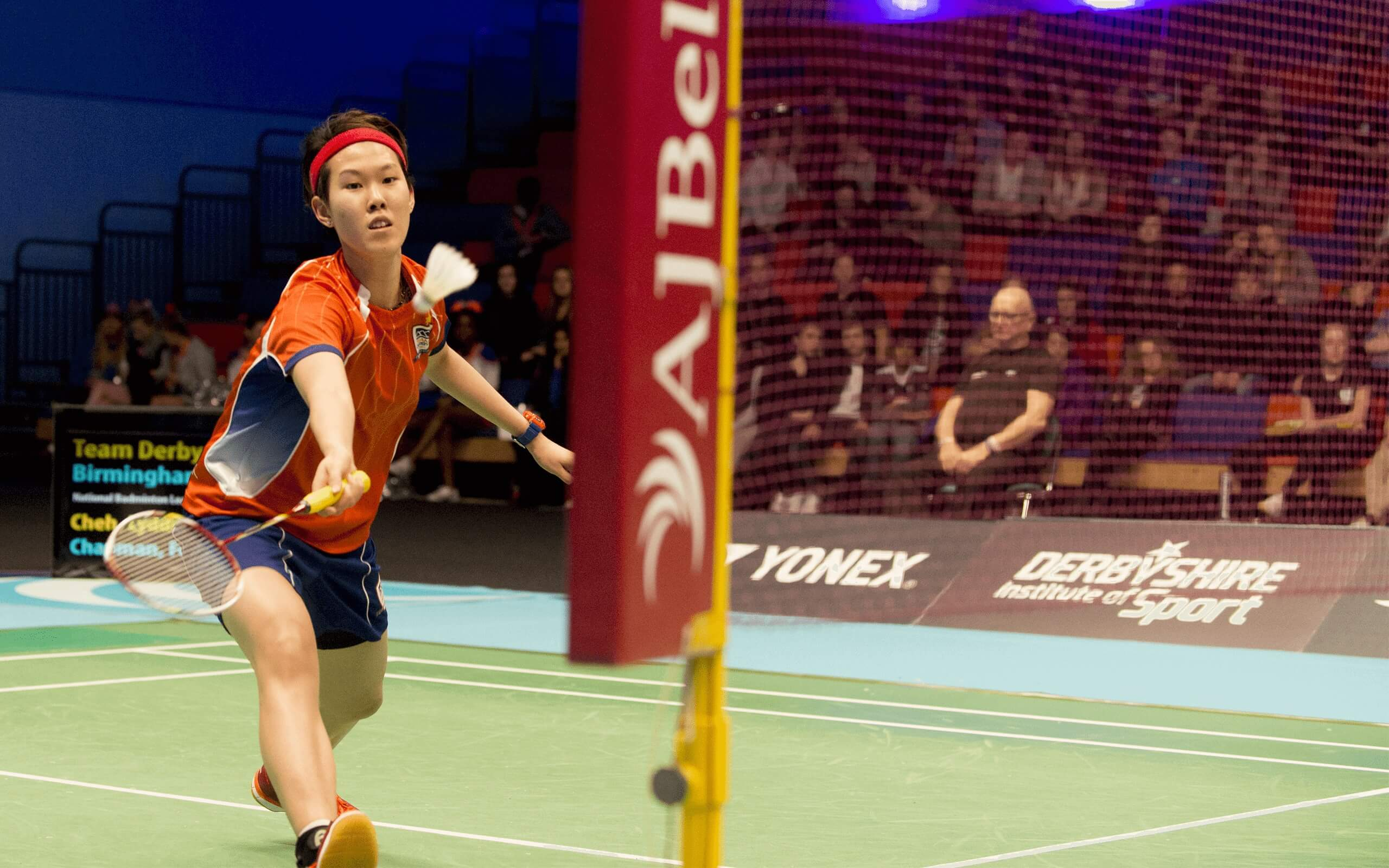 A picture of Lyddia playing badminton