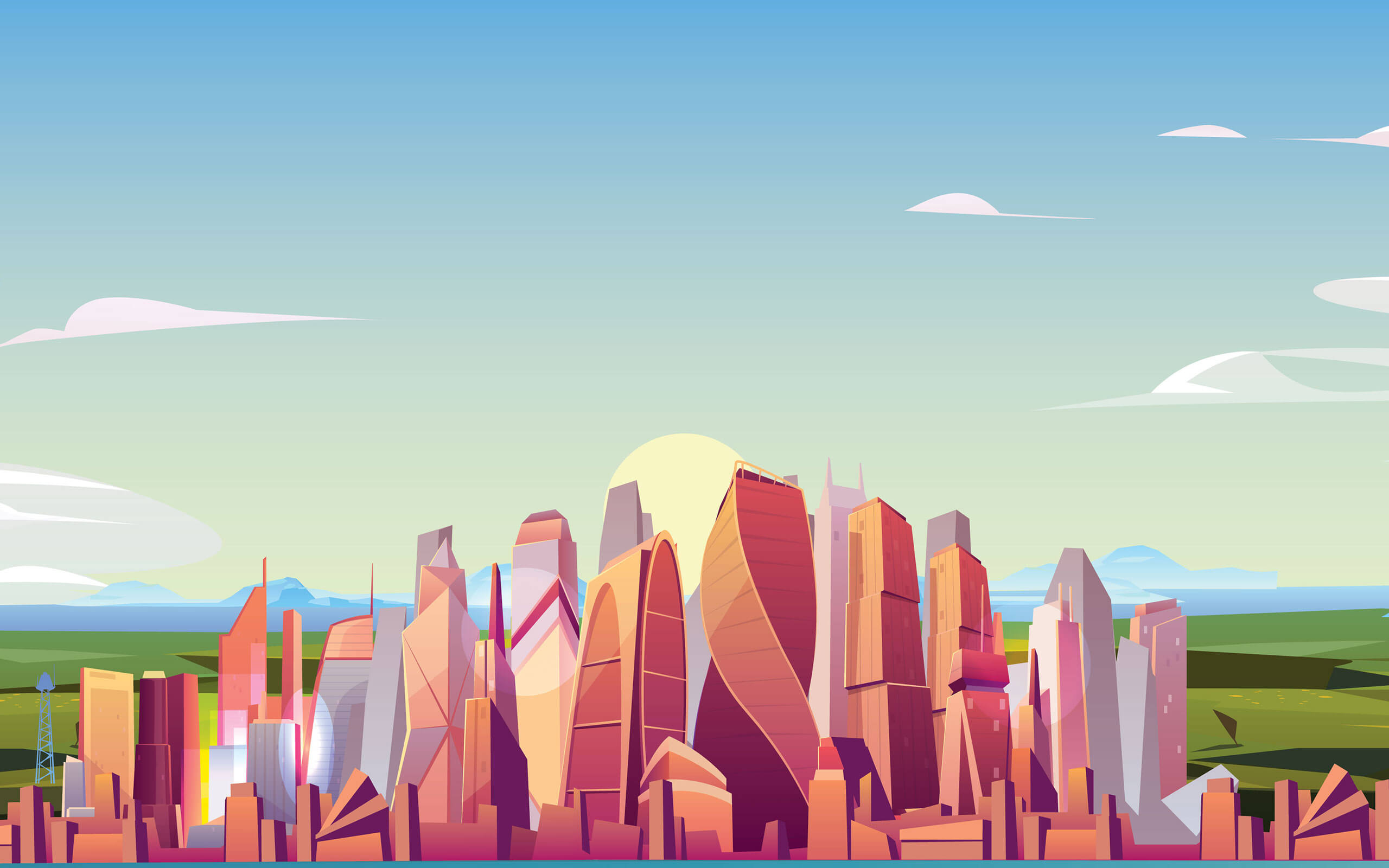 Animated image of colourful high rise buildings