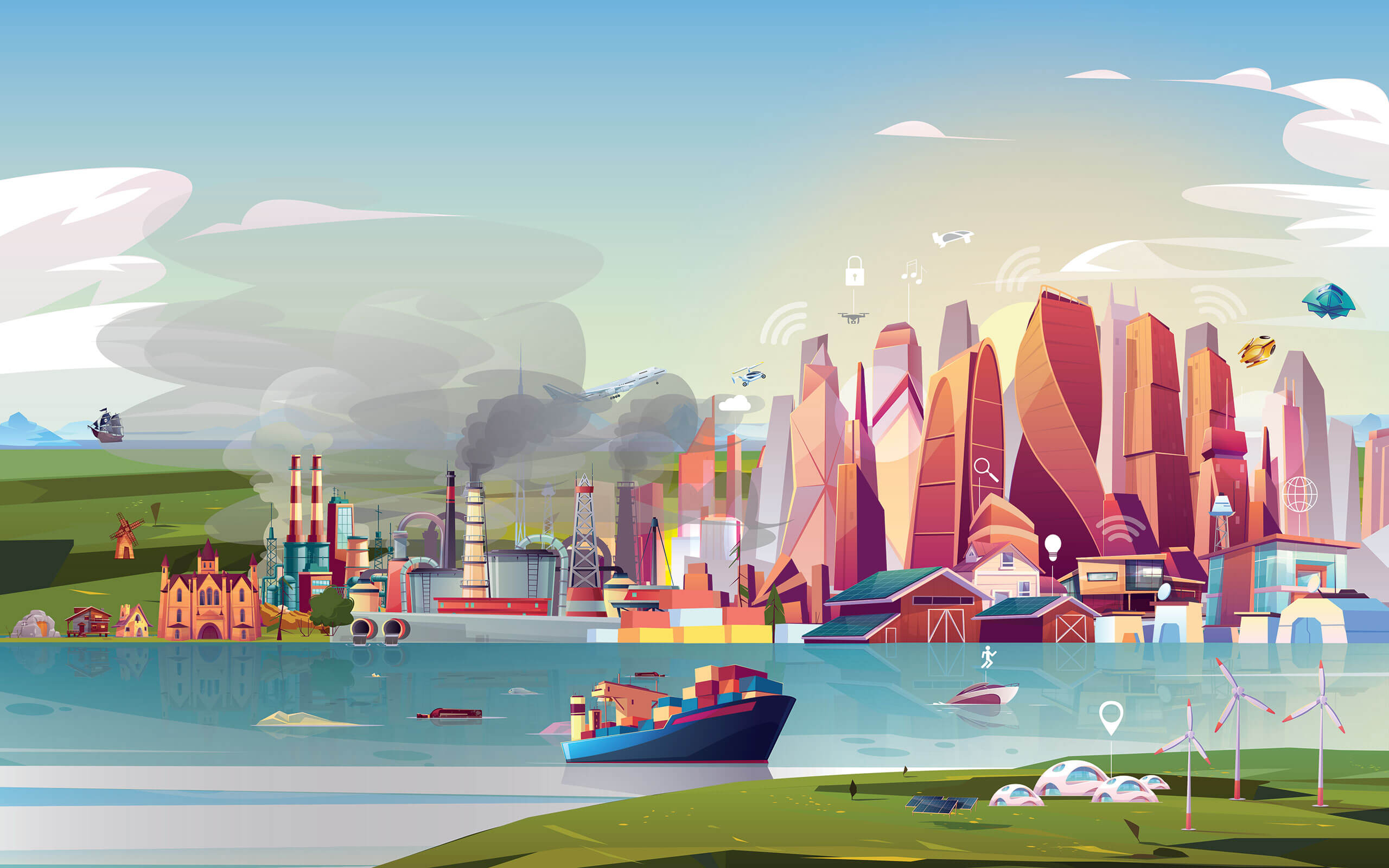 Animated image of colourful high rise buildings and industrial plant next to river, and renewable energy sources on field in foreground