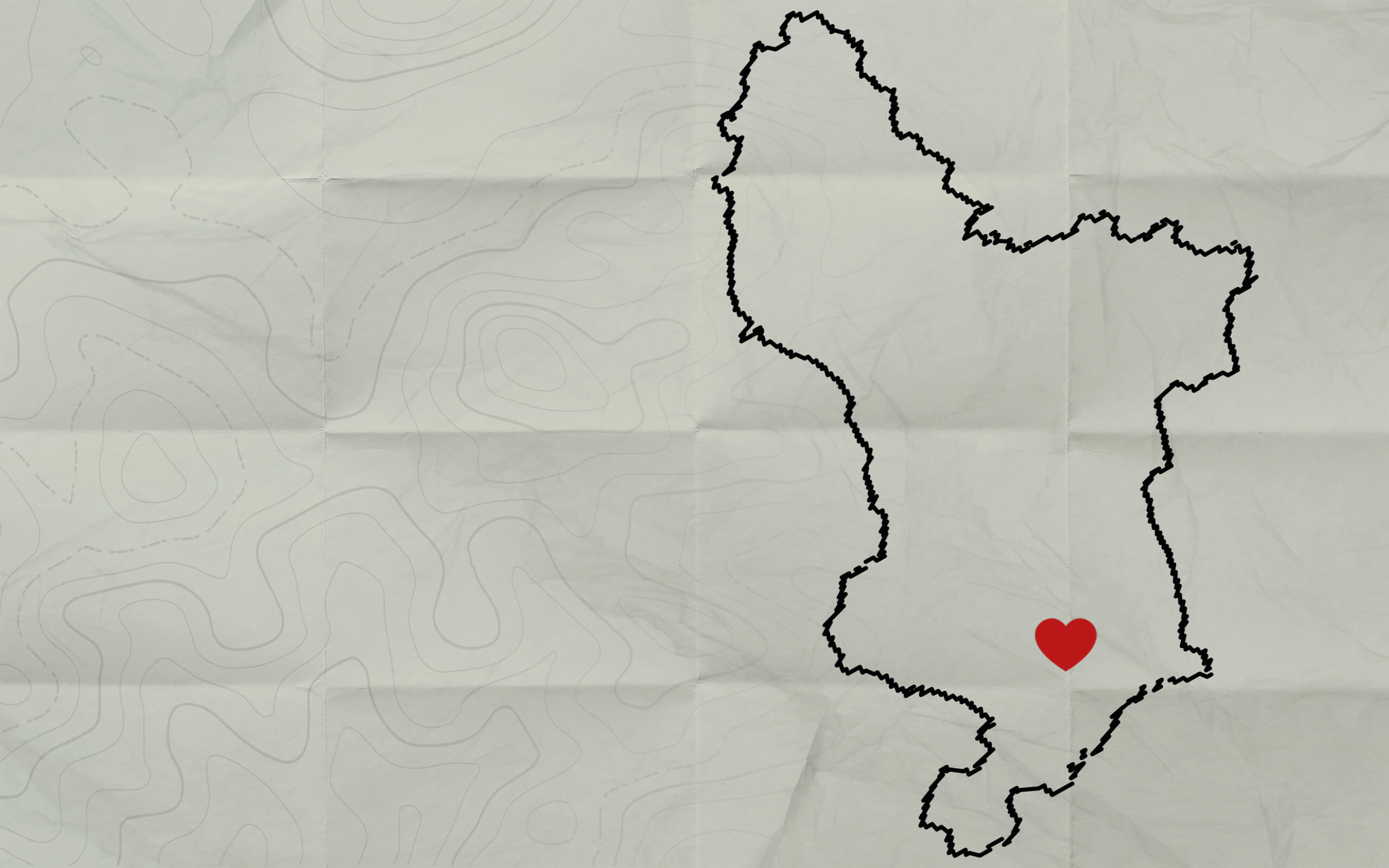 An outline of Derbyshire with a heart on it.