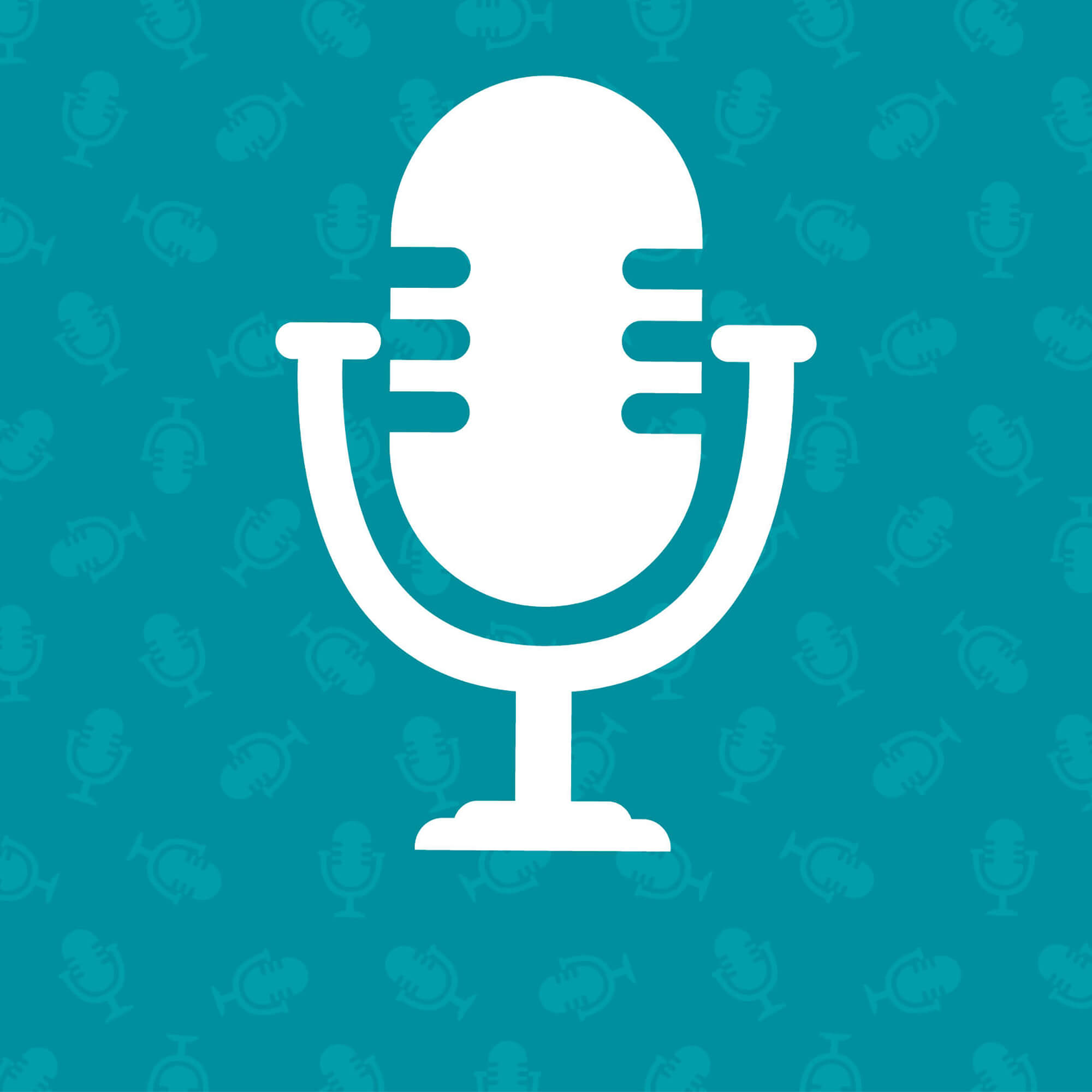 Turquoise background with tiny microphones on. White silhouette of a microphone over the top.