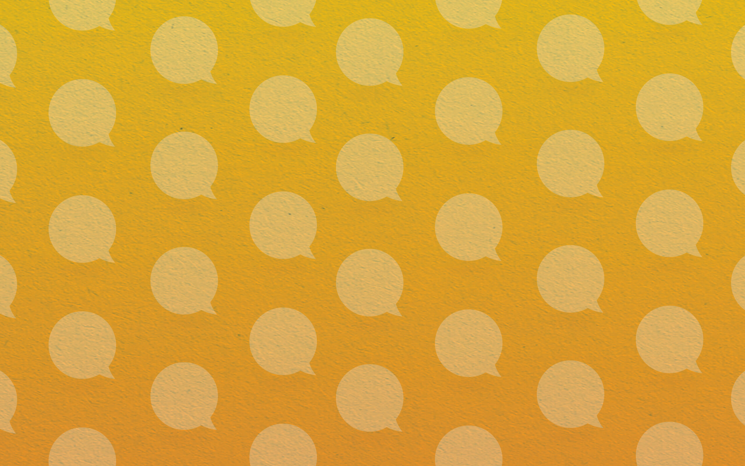 white speech bubbles on a yellow background