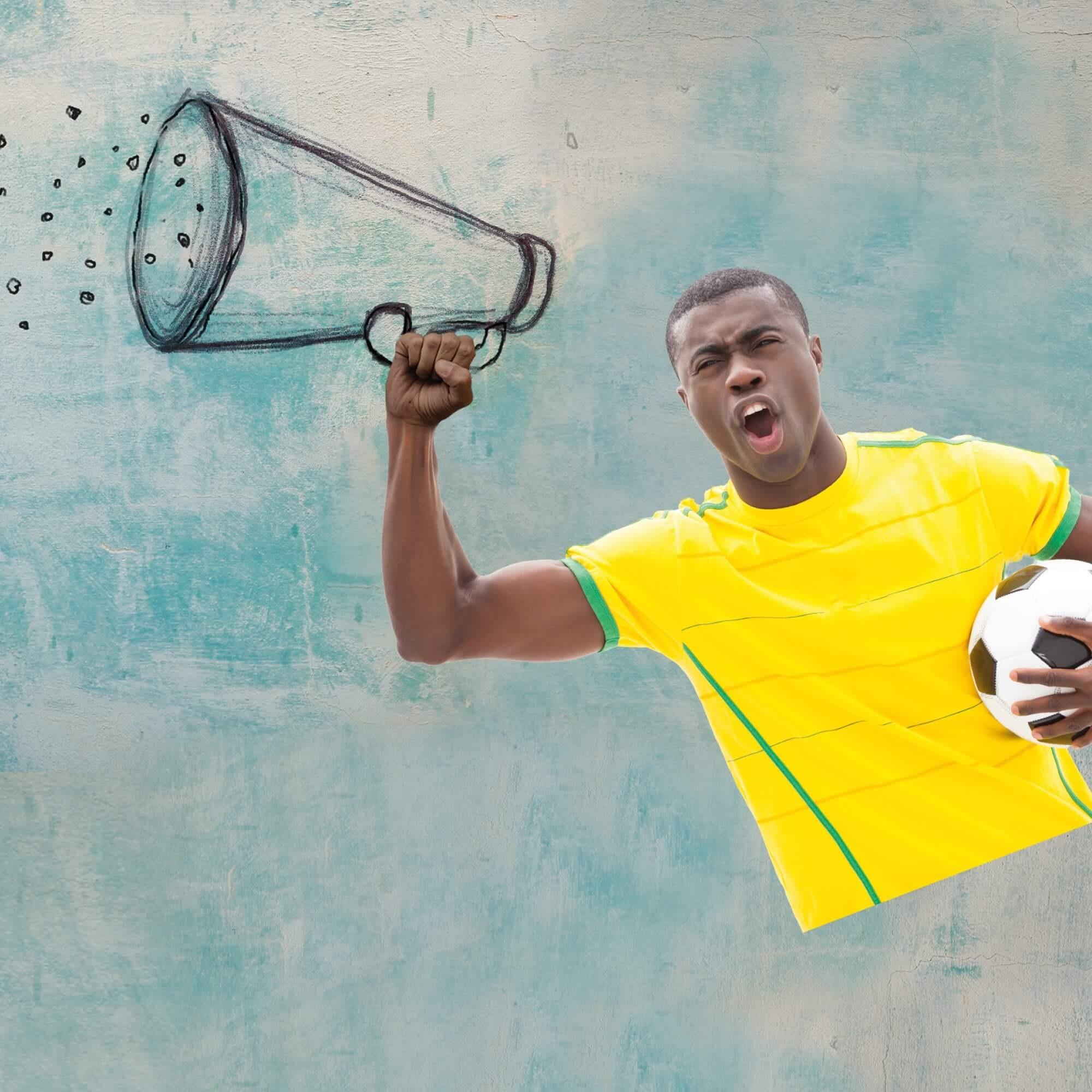 Sport player using megaphone to talk