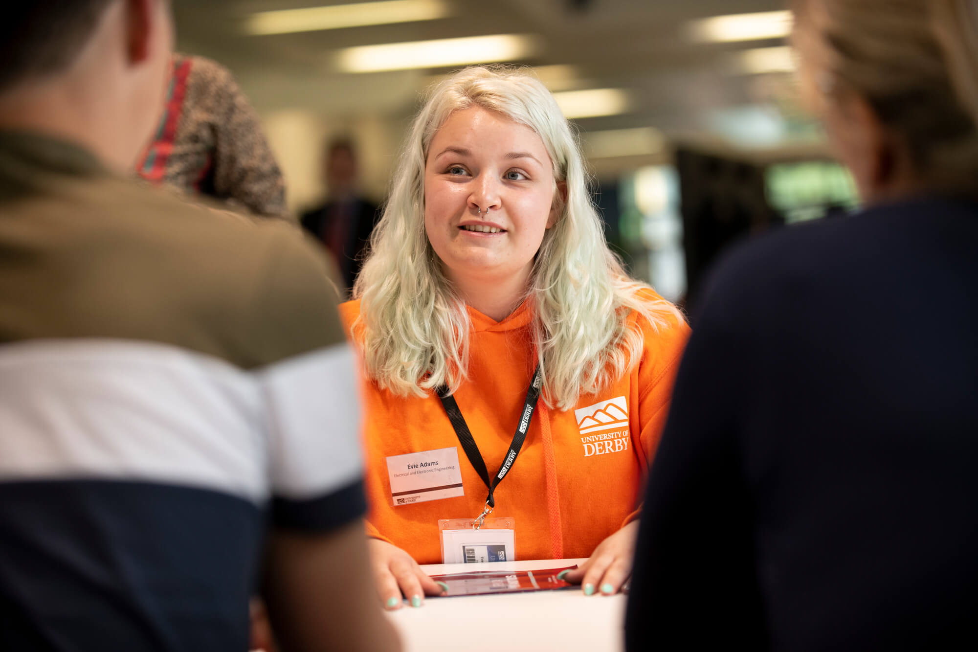 Student Ambassador speaking with prospective students at an Open Day