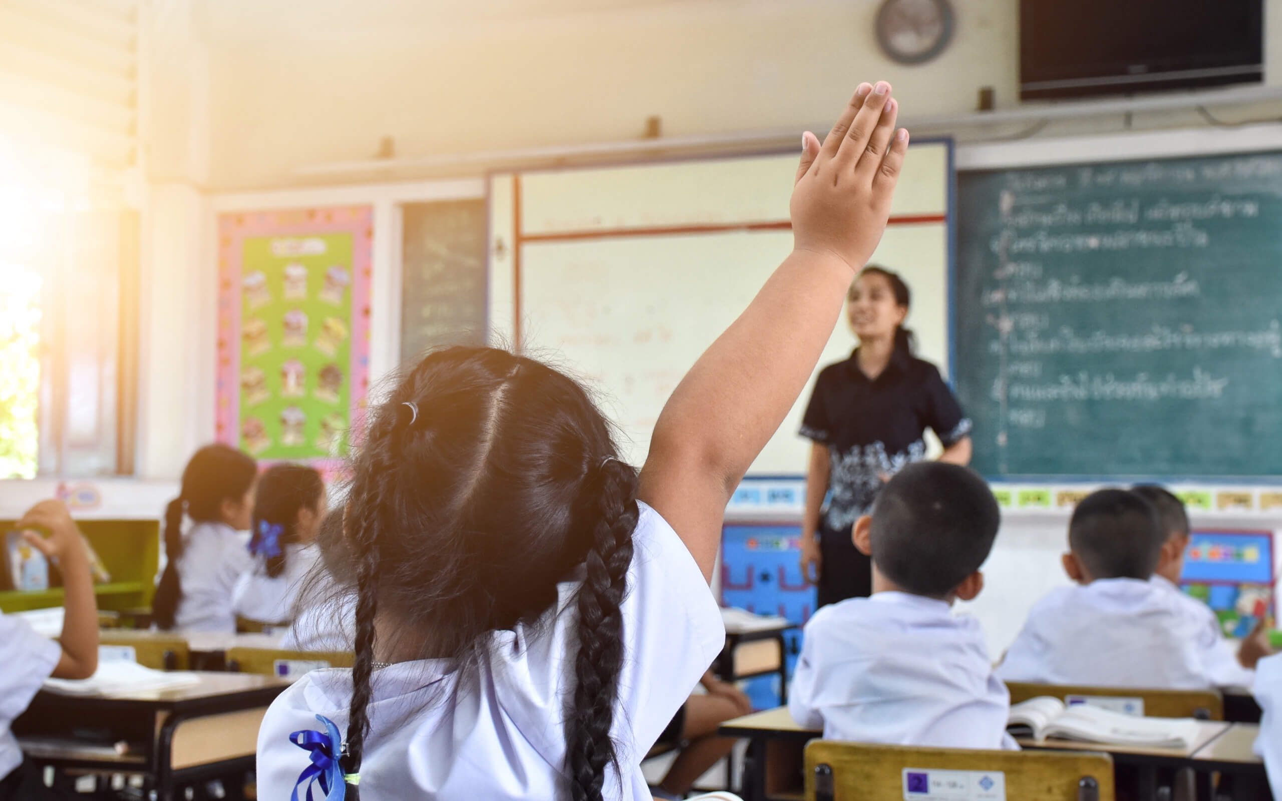 The back of a female primary school students head -sat in a busy classroom - she raises her hand to answer the teachers question
