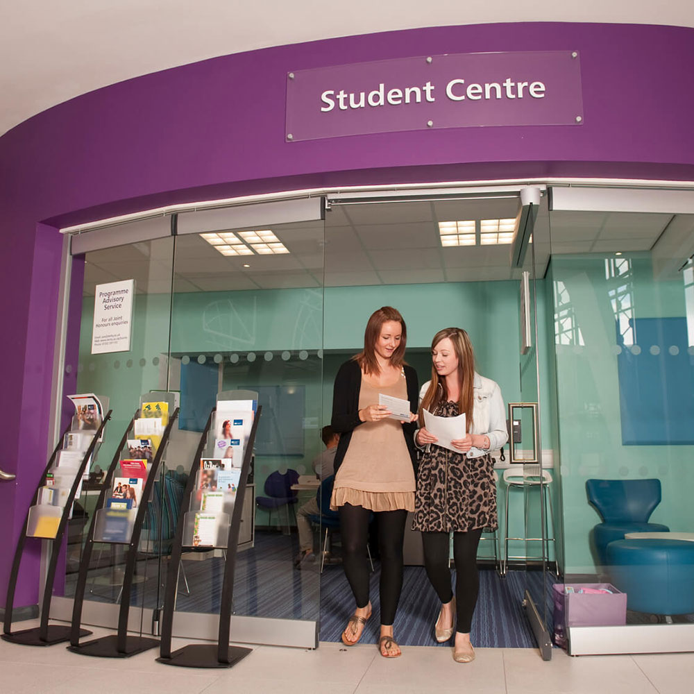 Students receive information from the Student Centre in the Atrium