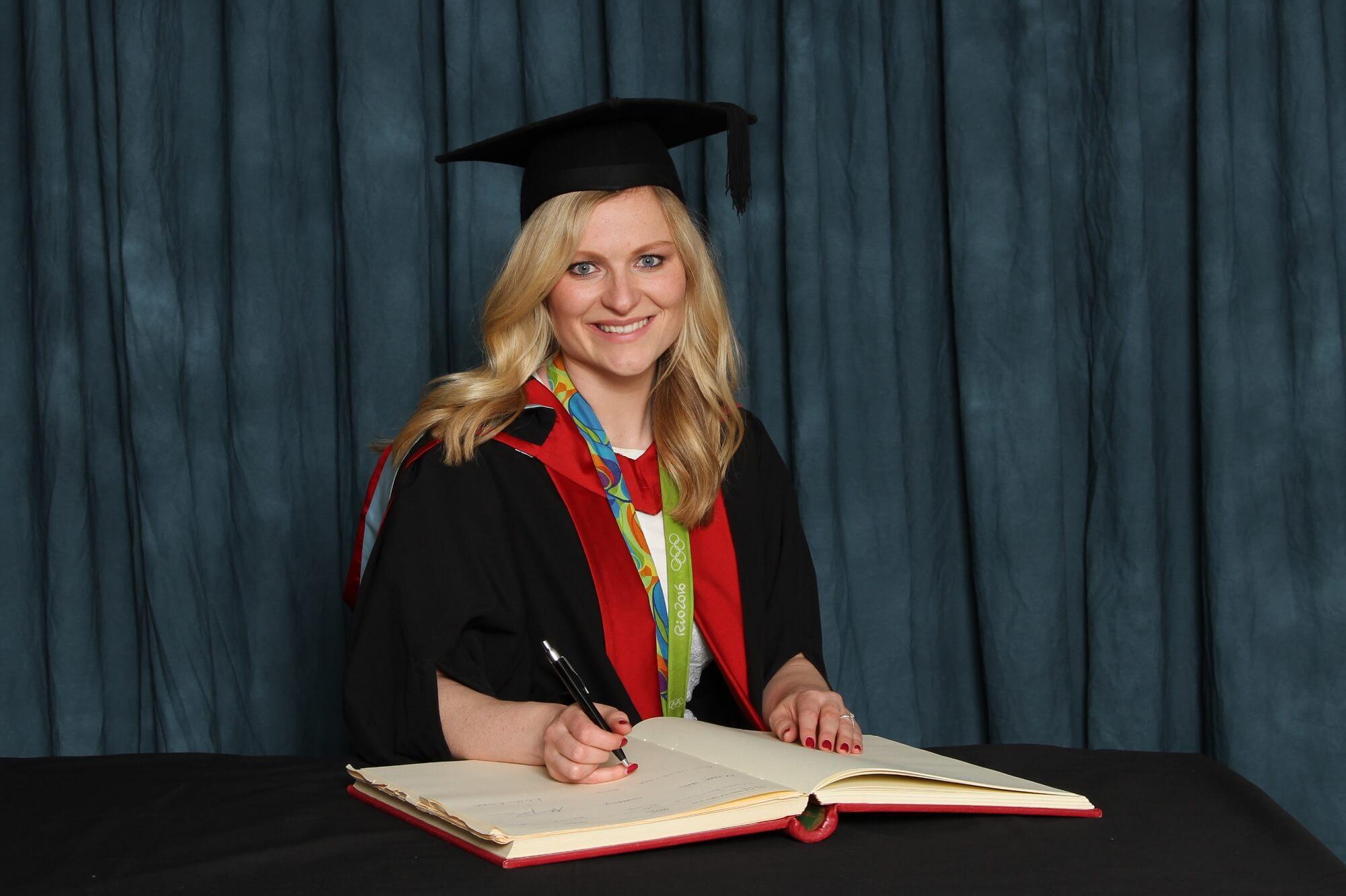 Hollie Pearne-Webb receiving her honorary degree, HonMUniv, 2016
